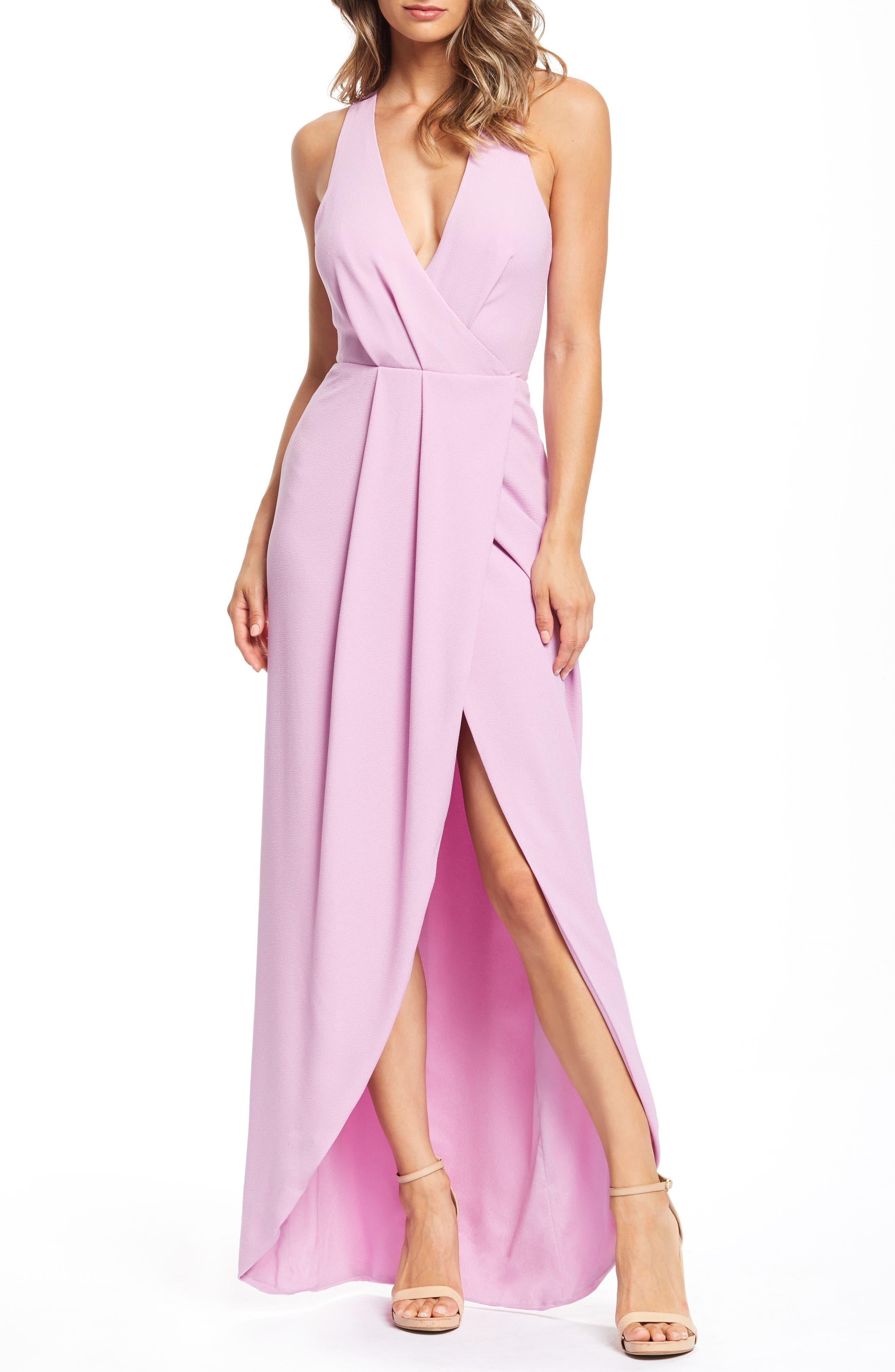 Dress The Population Ariel Racerback Faux Wrap Evening Dress, Purple