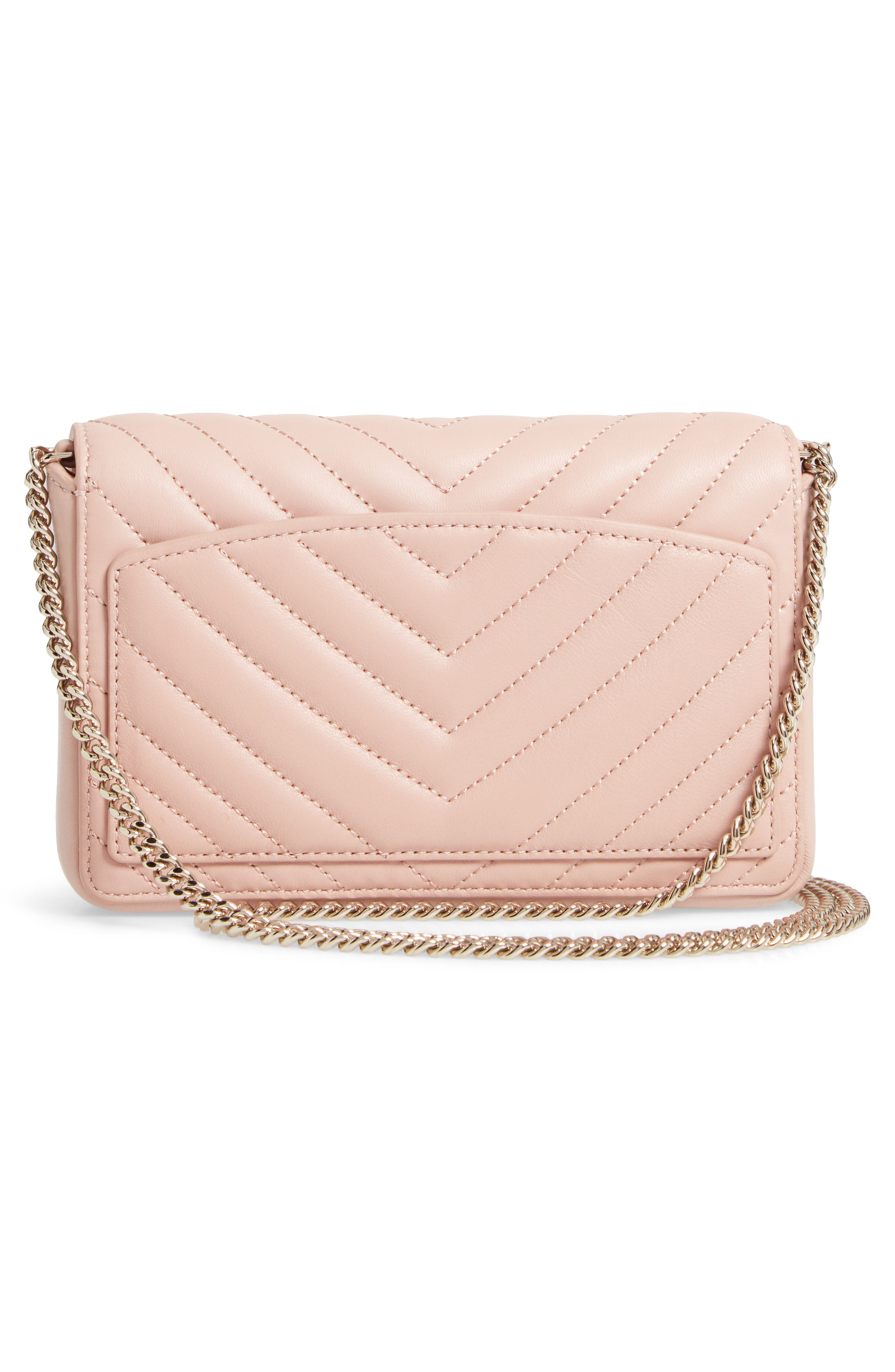 KATE SPADE NEW YORK, amelia quilted leather clutch, Alternate thumbnail 3, color, FLAPPER PINK