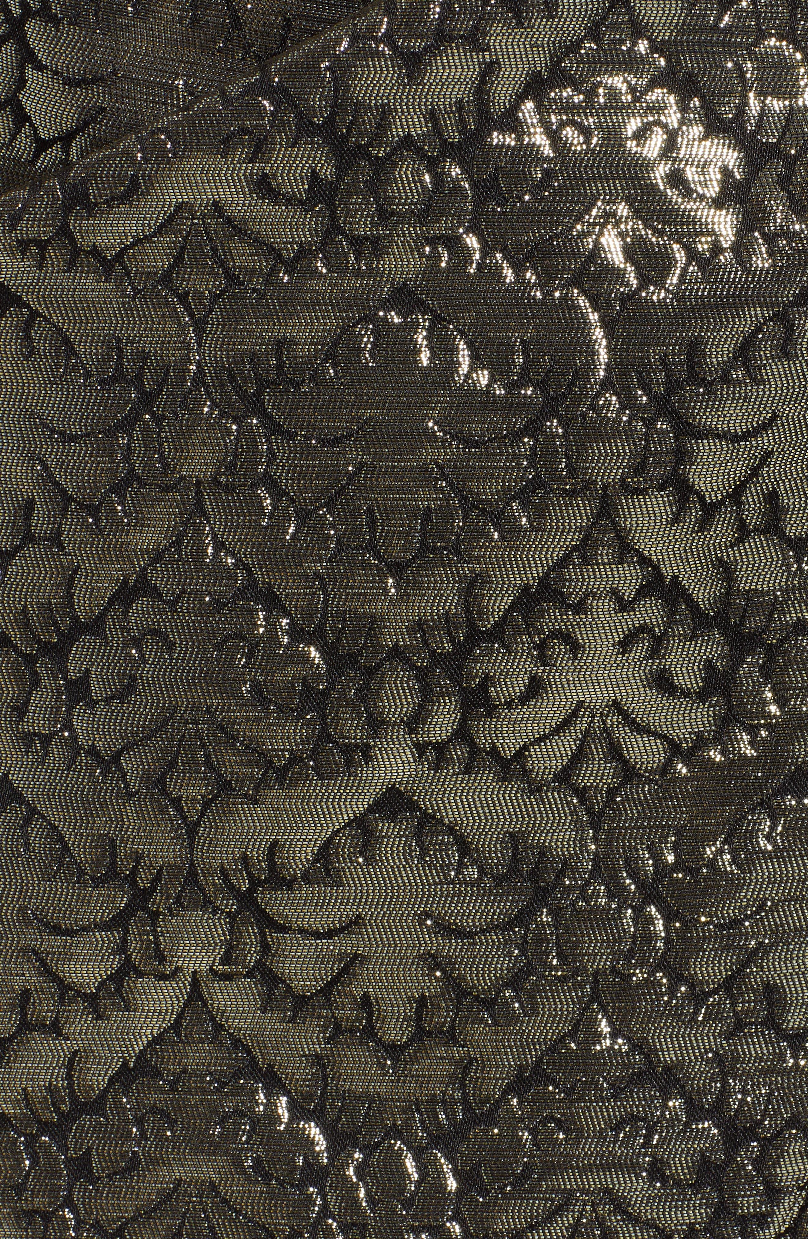 REBECCA MINKOFF, Augustina Shimmering Jacquard Faux Wrap Skirt, Alternate thumbnail 5, color, 710