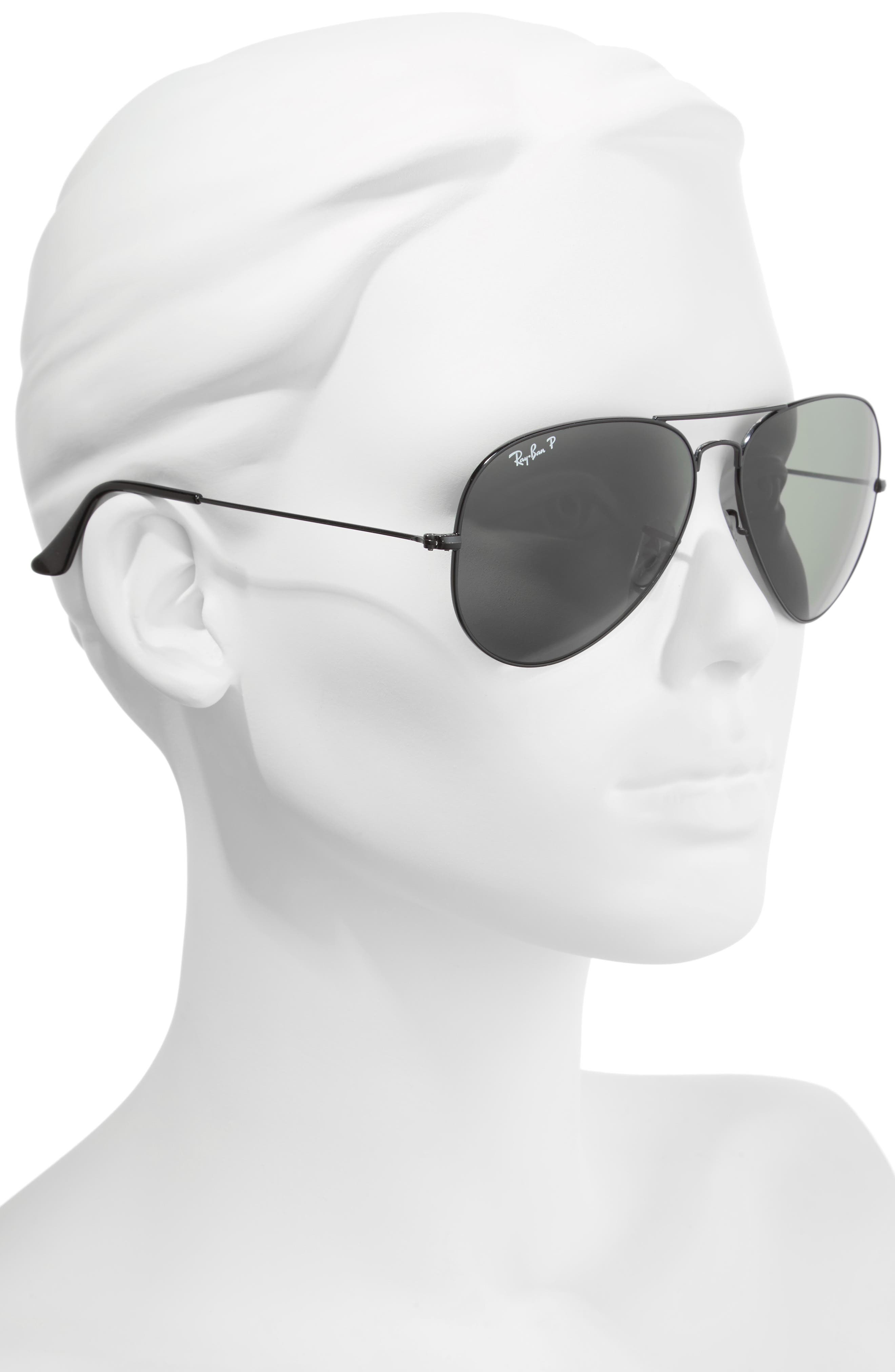 RAY-BAN, Original 62mm Polarized Aviator Sunglasses, Alternate thumbnail 2, color, BLACK/ POLARIZED