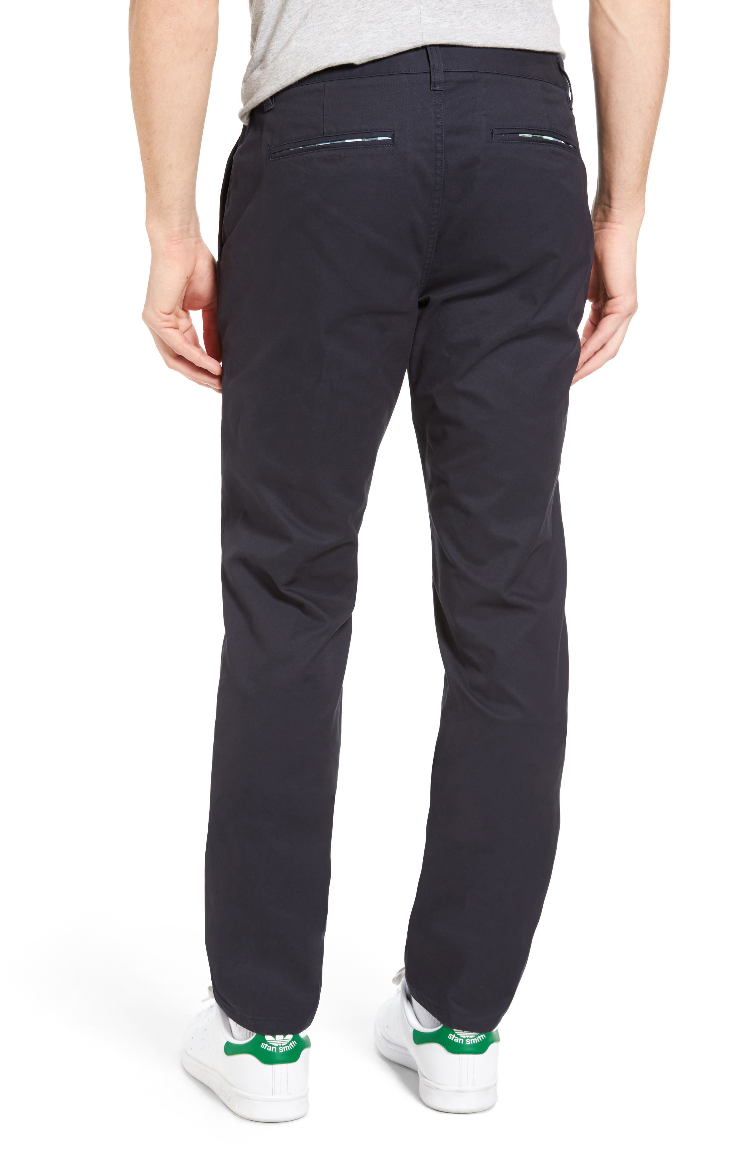 BONOBOS, Straight Fit Washed Chinos, Alternate thumbnail 3, color, JET BLUE