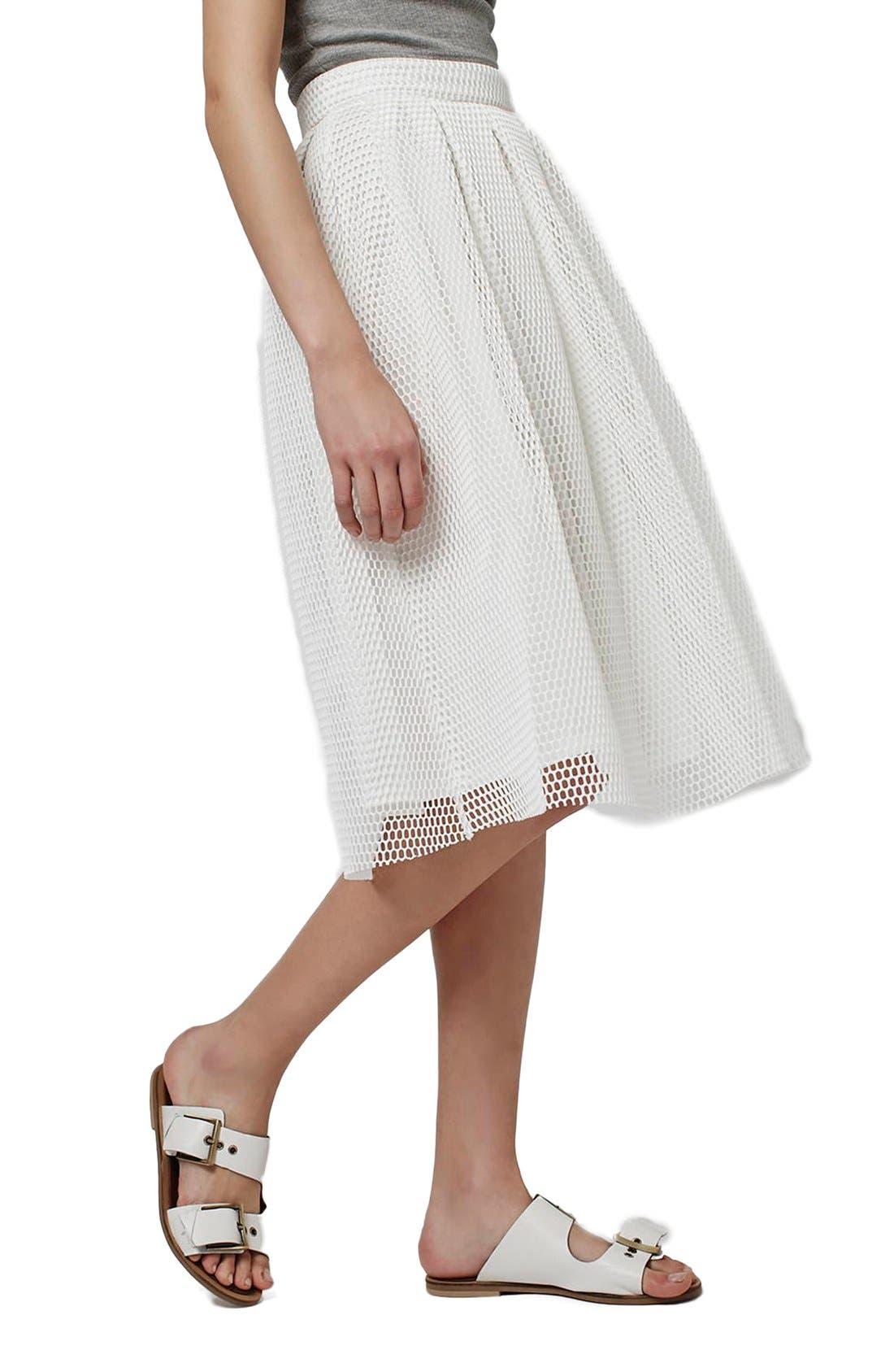 TOPSHOP Airtex Pleat Midi Skirt, Main, color, 100