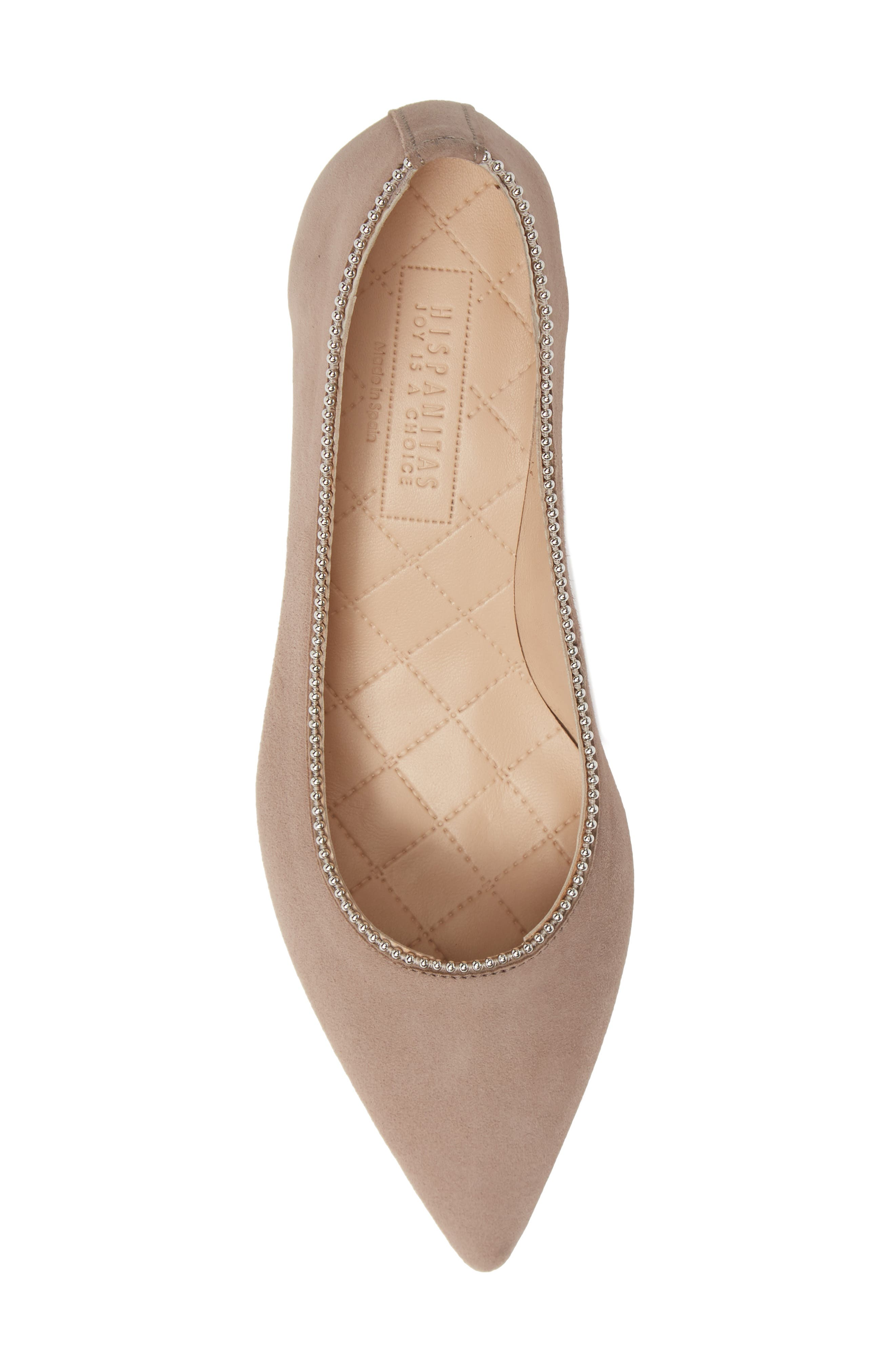 HISPANITAS, Carina Ball Chain Pointy Toe Pump, Alternate thumbnail 5, color, BEIGE SUEDE