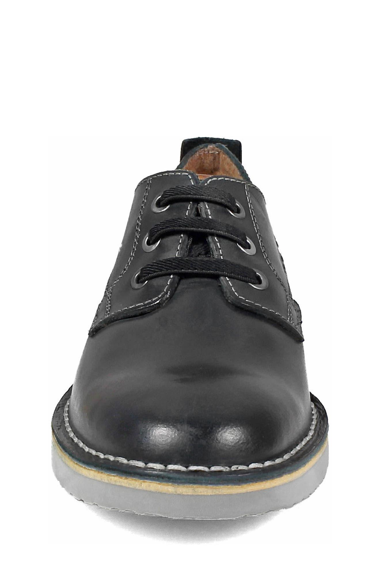 FLORSHEIM, Navigator JR Plain Toe Oxford, Alternate thumbnail 4, color, BLACK LEATHER