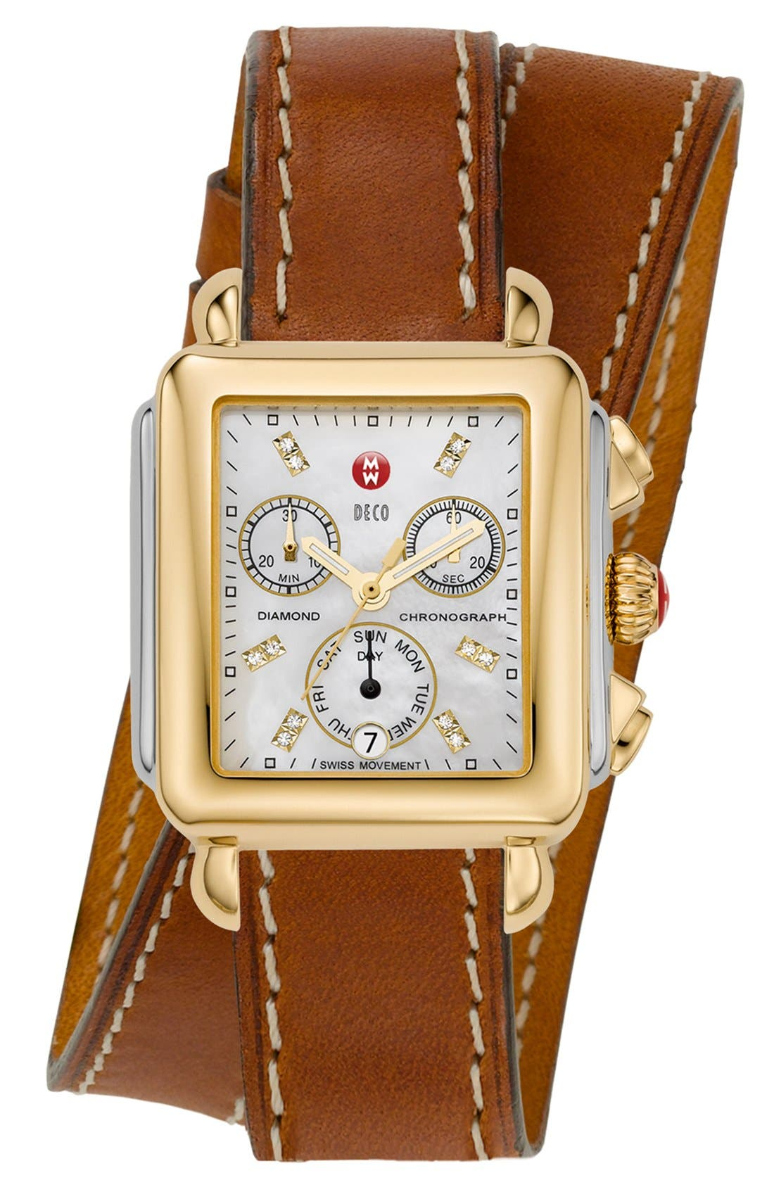 MICHELE, 18mm Leather Double Wrap Watch Strap, Alternate thumbnail 2, color, LIGHT BROWN