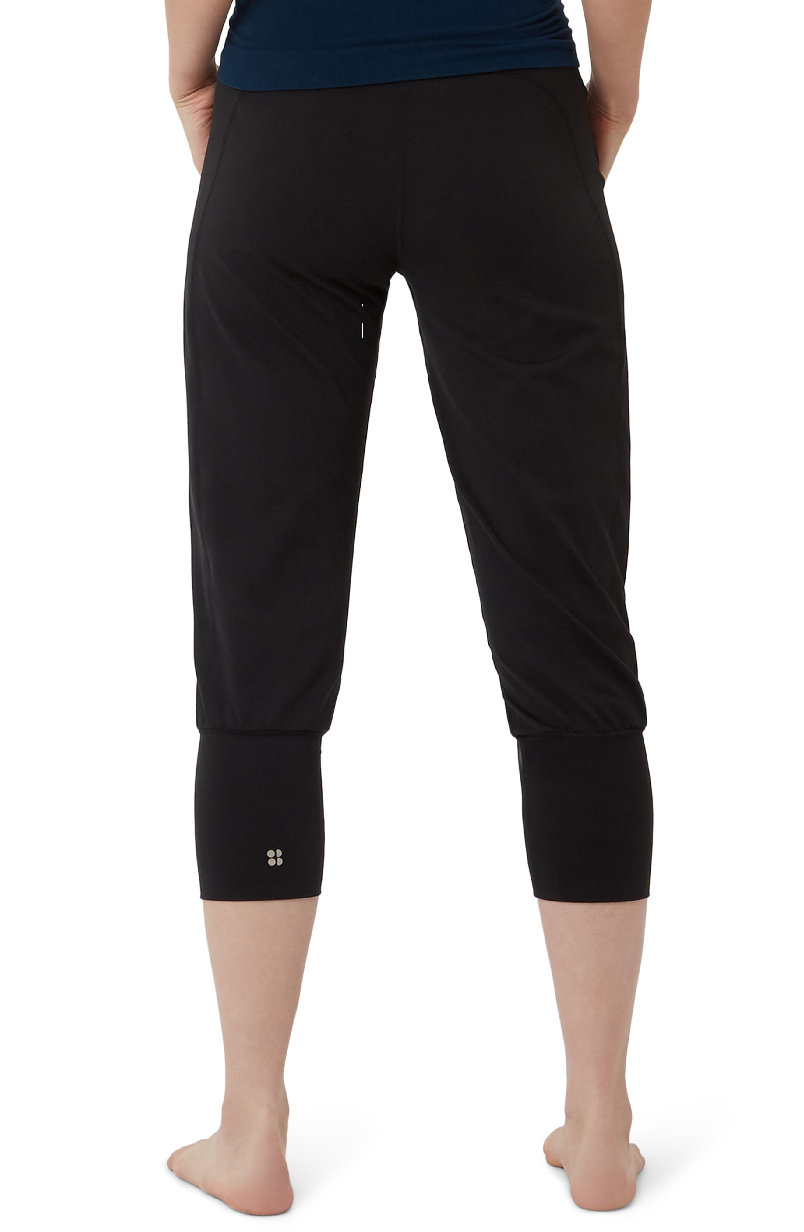 SWEATY BETTY, Garudasana Crop Yoga Trousers, Alternate thumbnail 2, color, BLACK