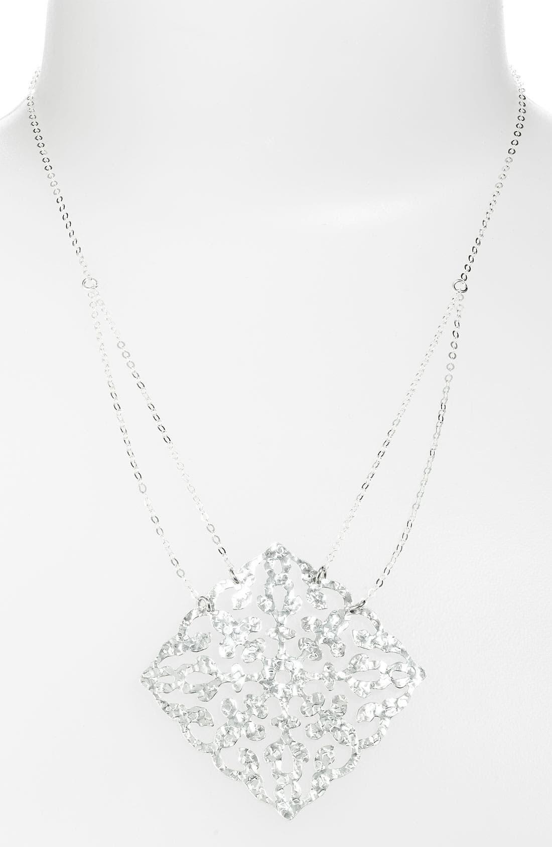 ARGENTO VIVO, 'Artisanal Lace' Squared Pendant Necklace, Main thumbnail 1, color, 040