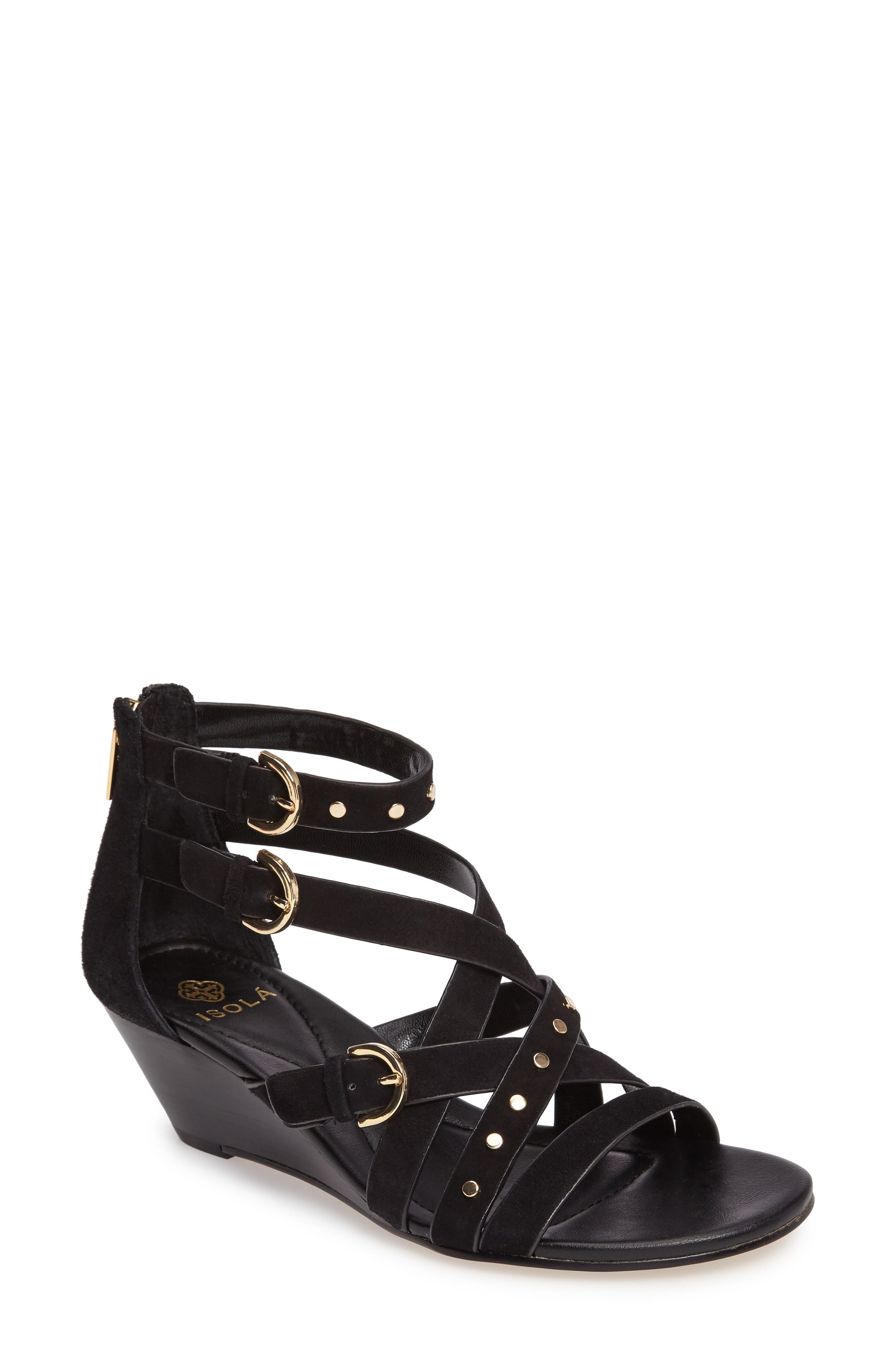 ISOLÁ, Petra Strappy Wedge Sandal, Main thumbnail 1, color, BLACK LEATHER