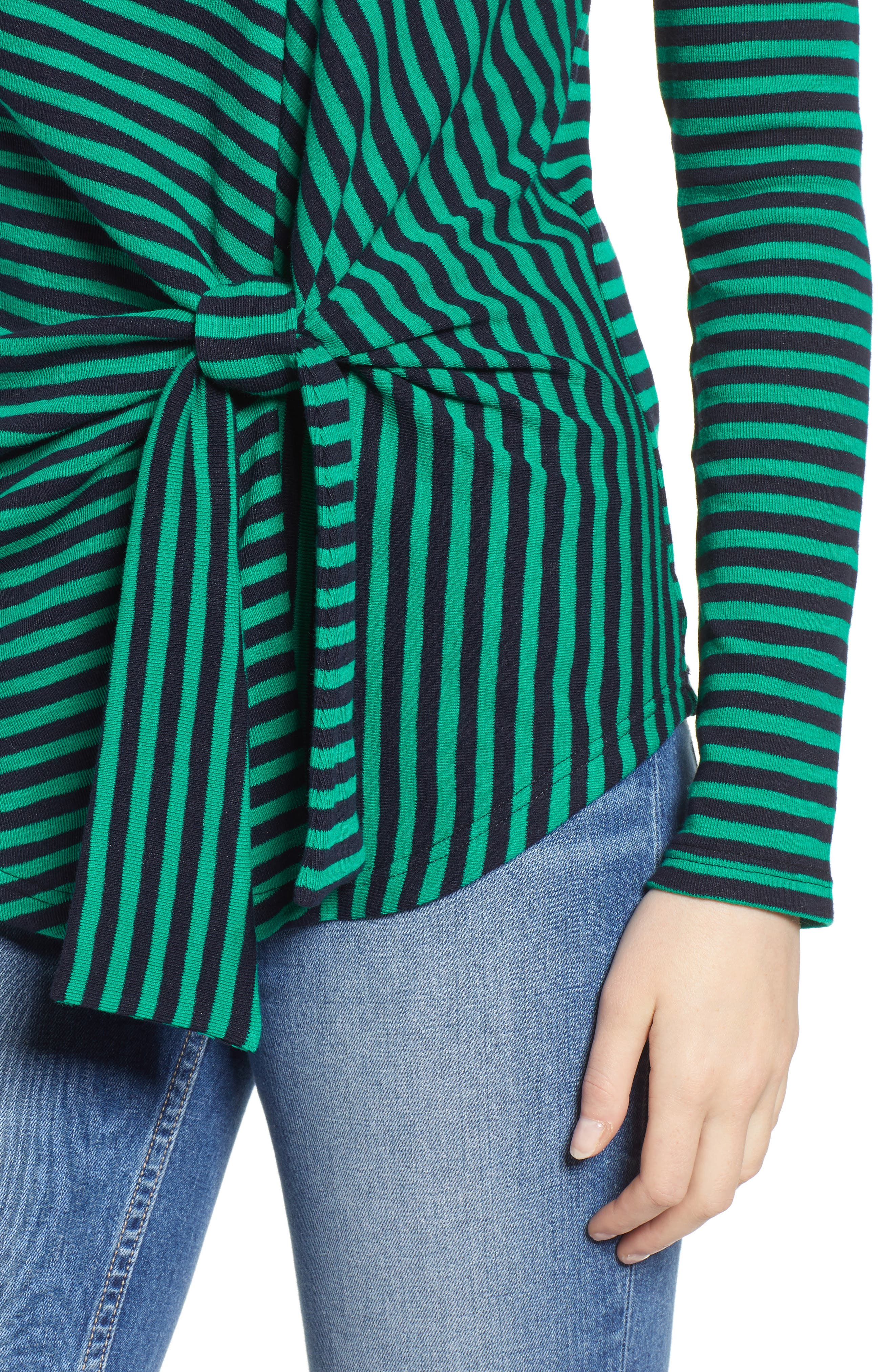 &.LAYERED, Twist Front Stripe Stretch Cotton Tee, Alternate thumbnail 4, color, NAVY/ GREEN