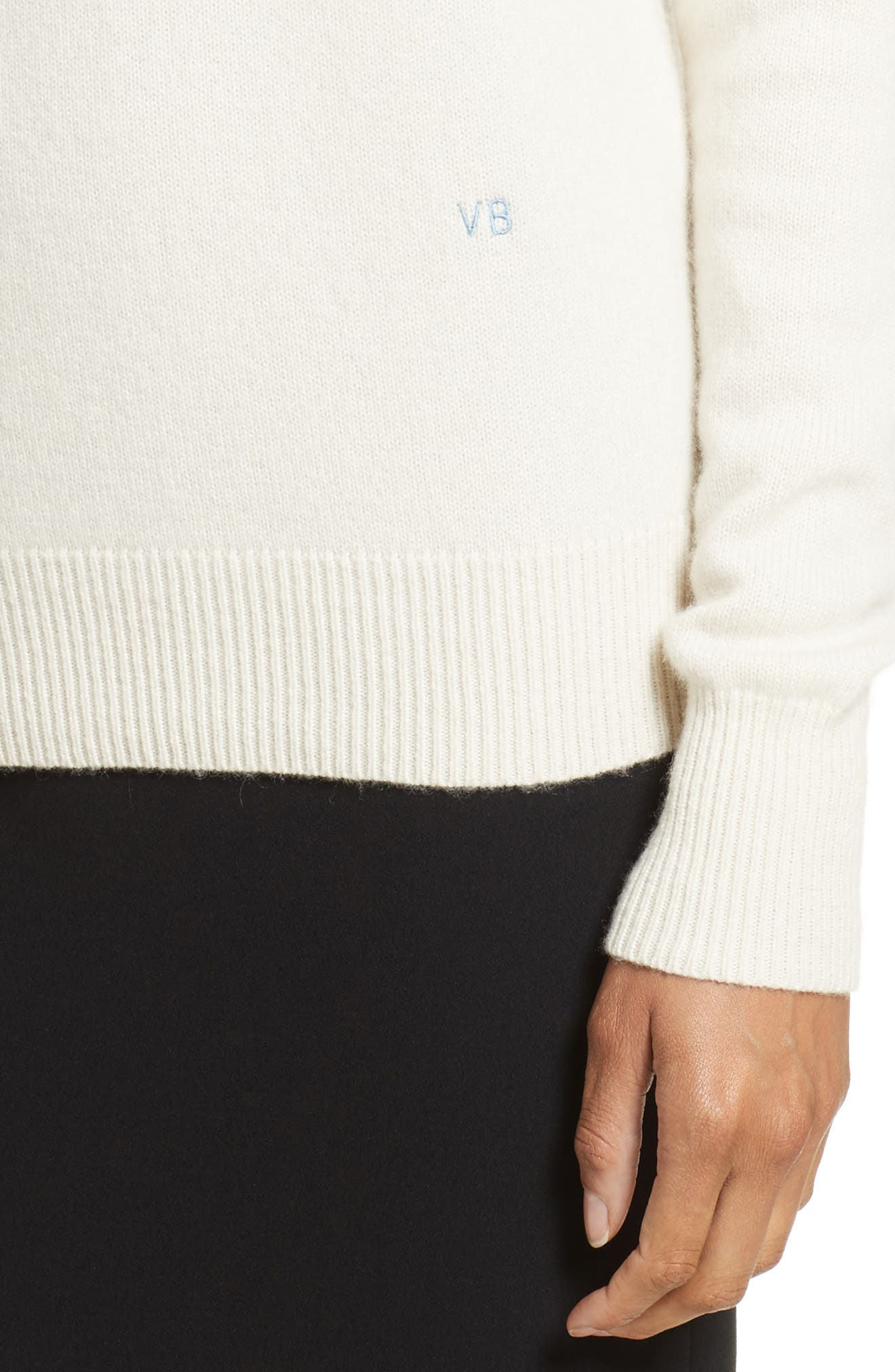 VICTORIA BECKHAM, Cashmere Turtleneck Sweater, Alternate thumbnail 4, color, VANILLA