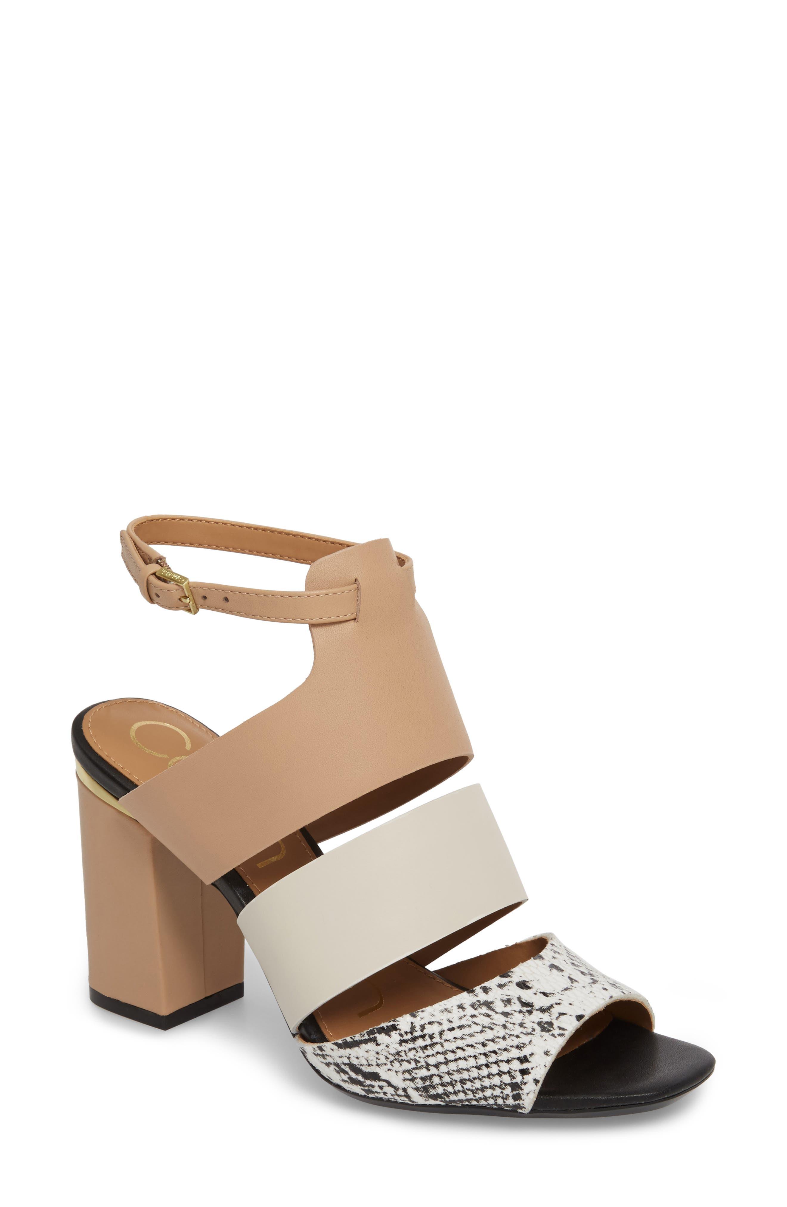 CALVIN KLEIN, Caran Block Heel Sandal, Main thumbnail 1, color, BLACK/ WHITE LEATHER