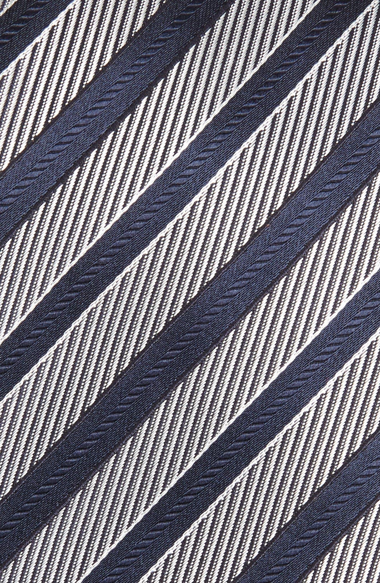 ERMENEGILDO ZEGNA, Stripe Silk Tie, Alternate thumbnail 2, color, NAVY/ SILVER