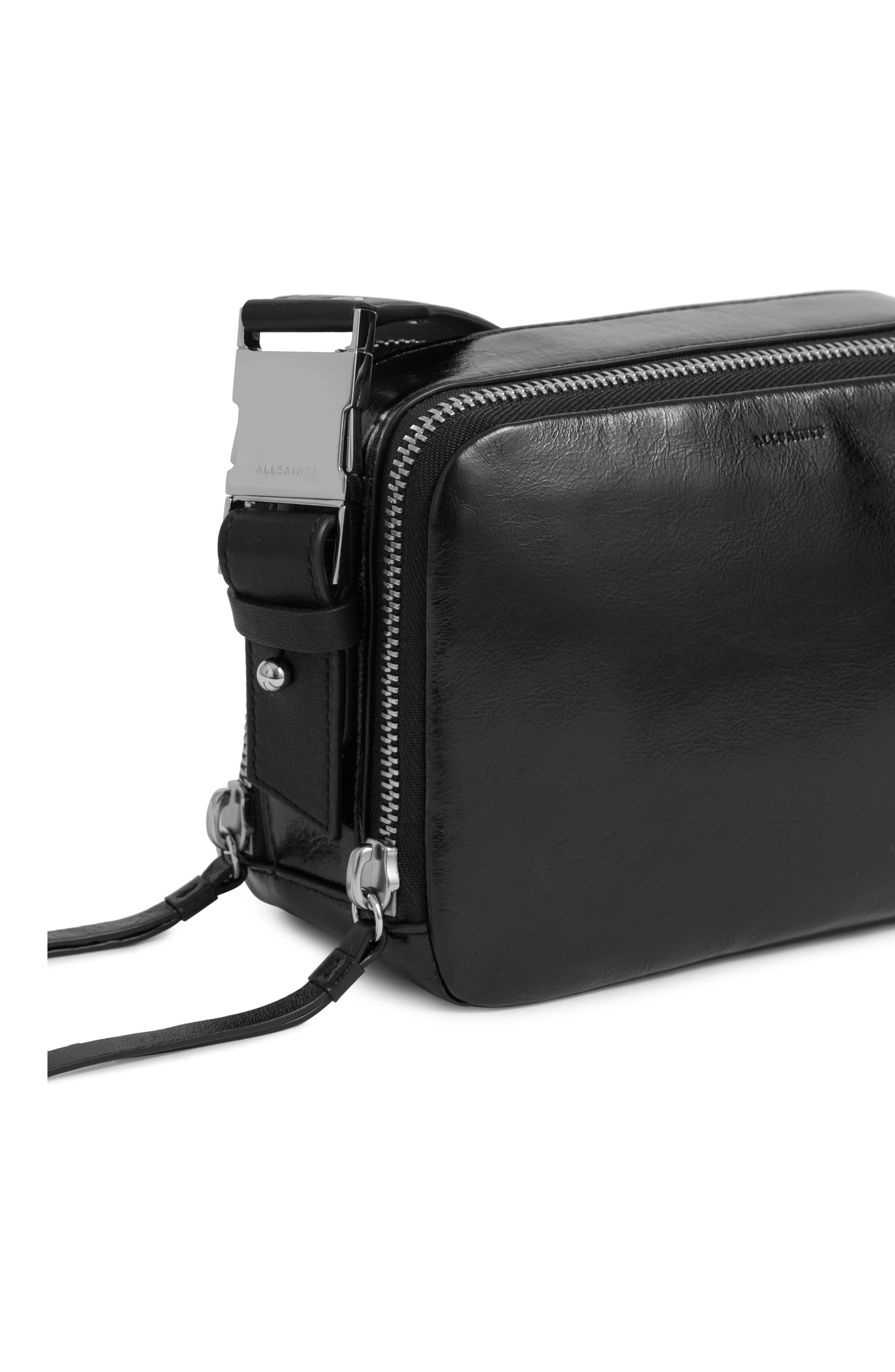 ALLSAINTS, Leather Belt Bag, Alternate thumbnail 6, color, 001