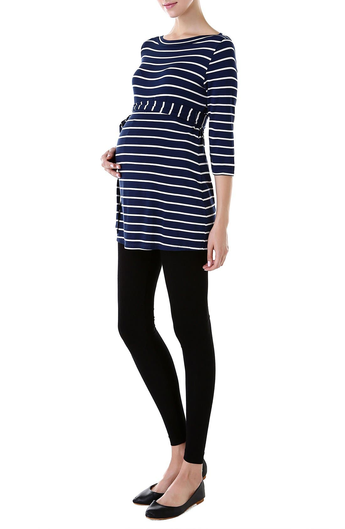 KIMI AND KAI, 'Whitney' Stripe Belted Maternity Top, Alternate thumbnail 4, color, NAVY/ IVORY