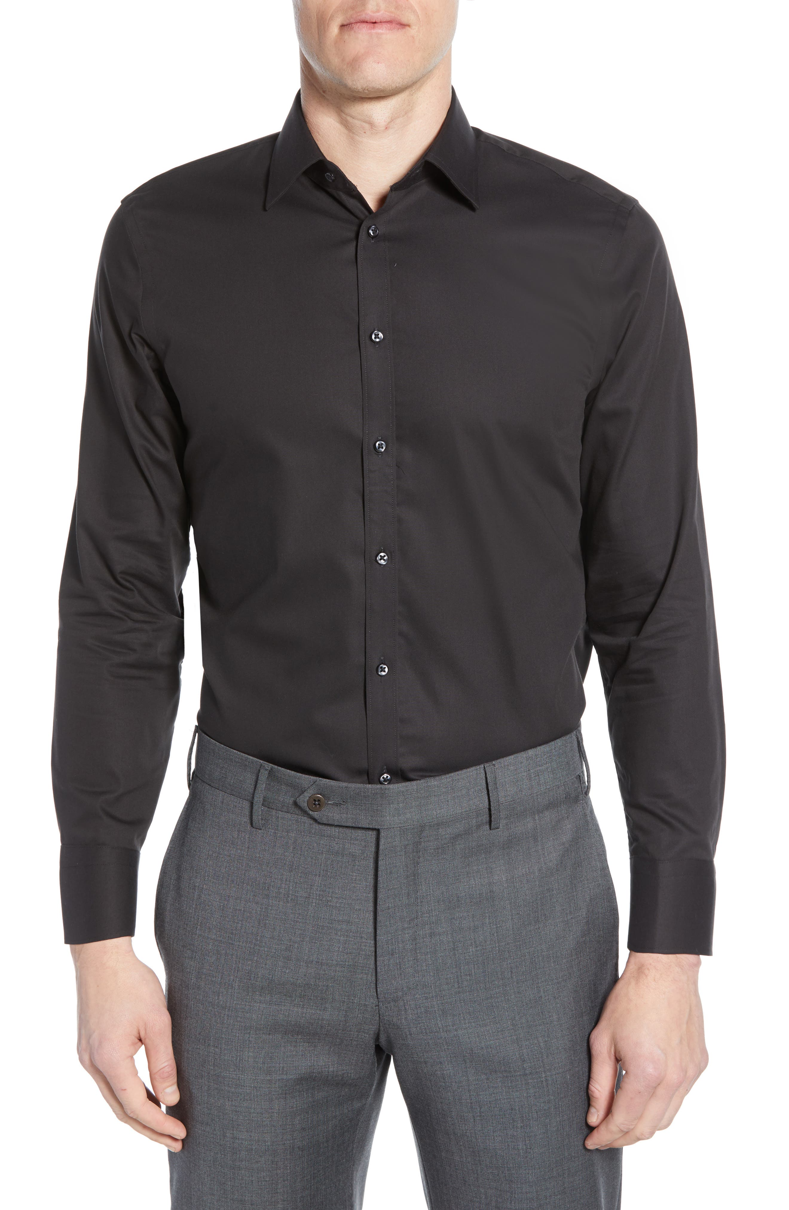 NORDSTROM MEN'S SHOP, Extra Trim Fit Non-Iron Solid Dress Shirt, Main thumbnail 1, color, BLACK ROCK