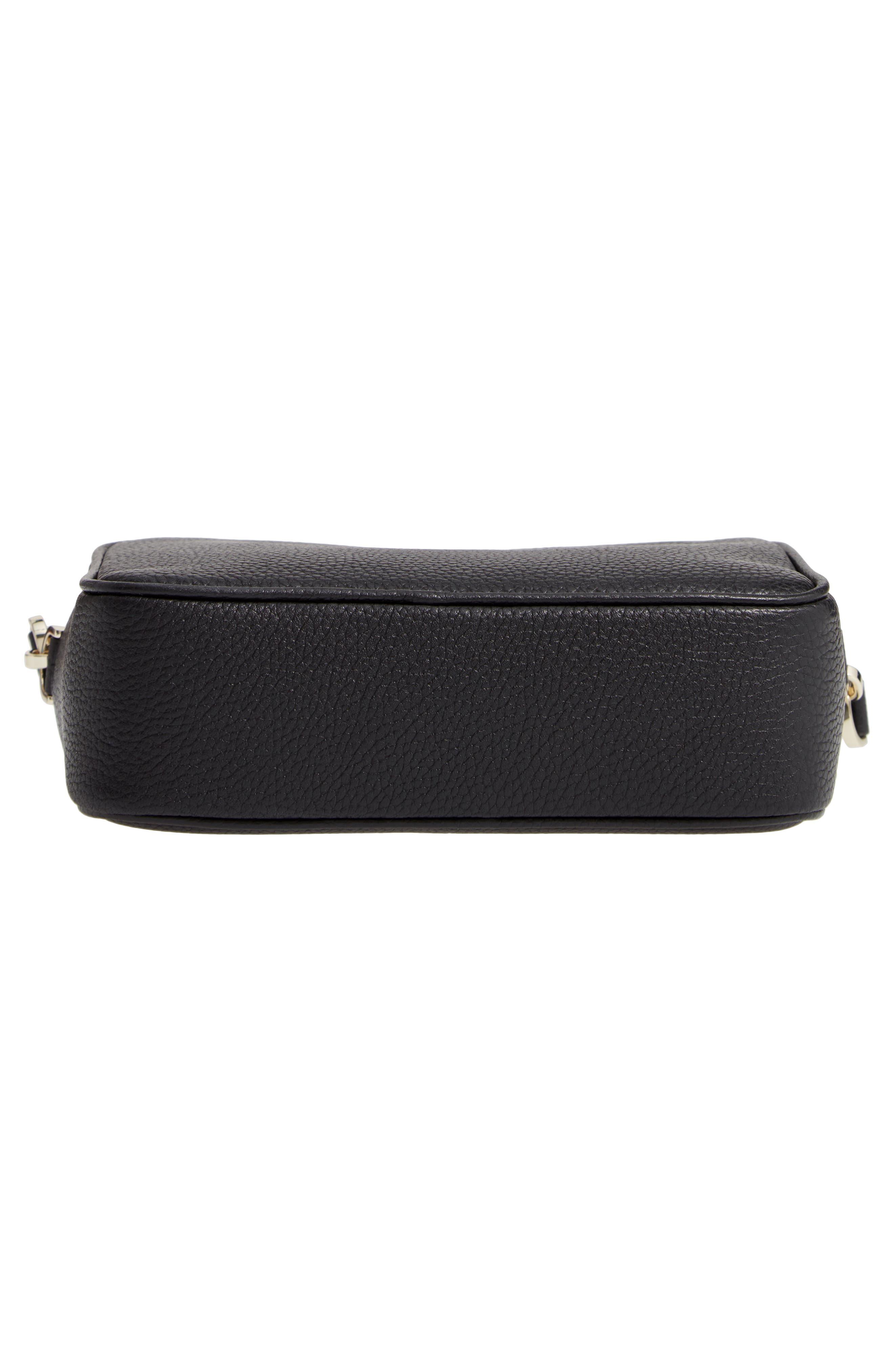 KATE SPADE NEW YORK, medium polly leather camera bag, Alternate thumbnail 7, color, BLACK