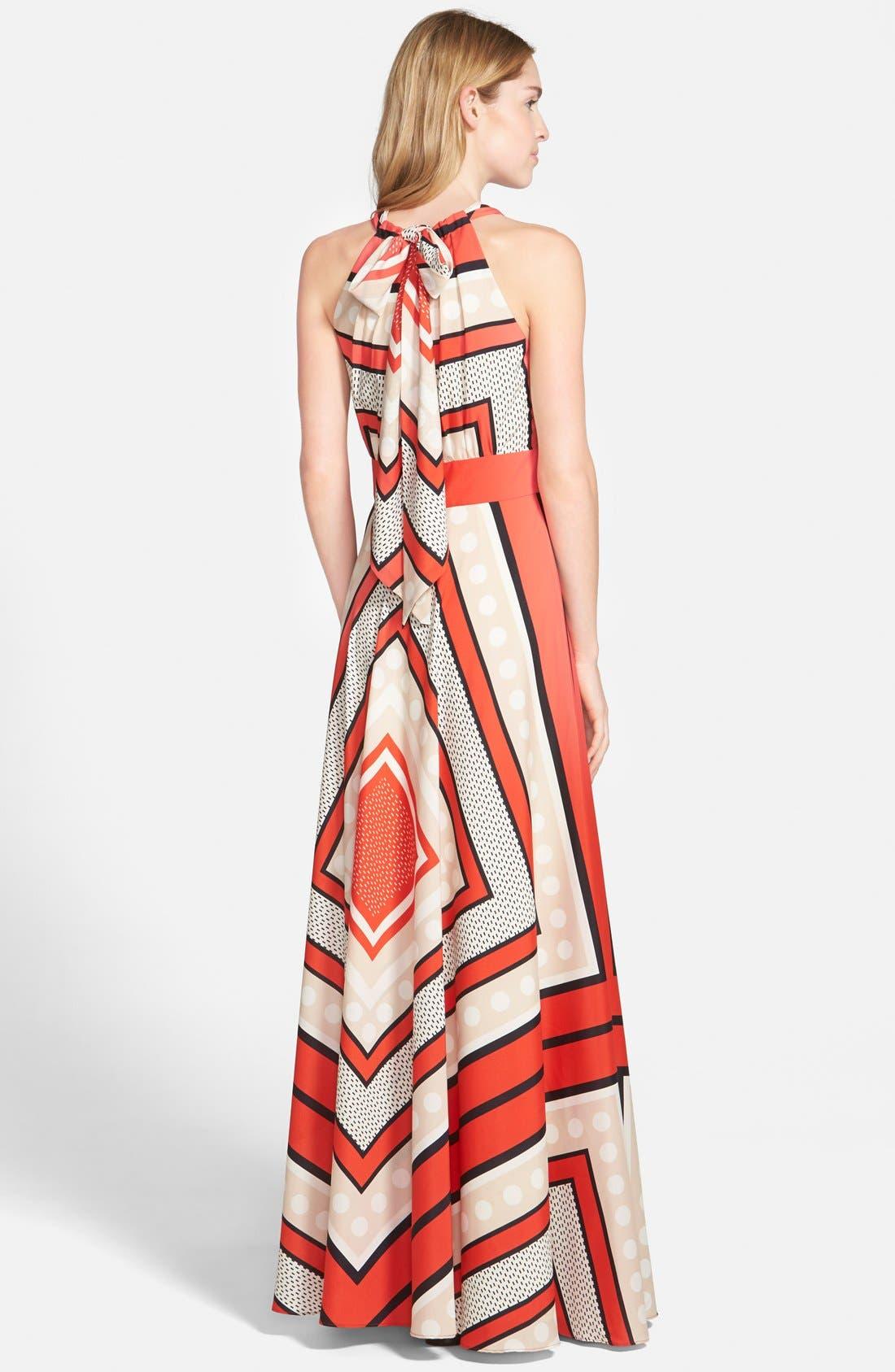ELIZA J, Scarf Print Crêpe de Chine Fit & Flare Maxi Dress, Alternate thumbnail 13, color, MULTI