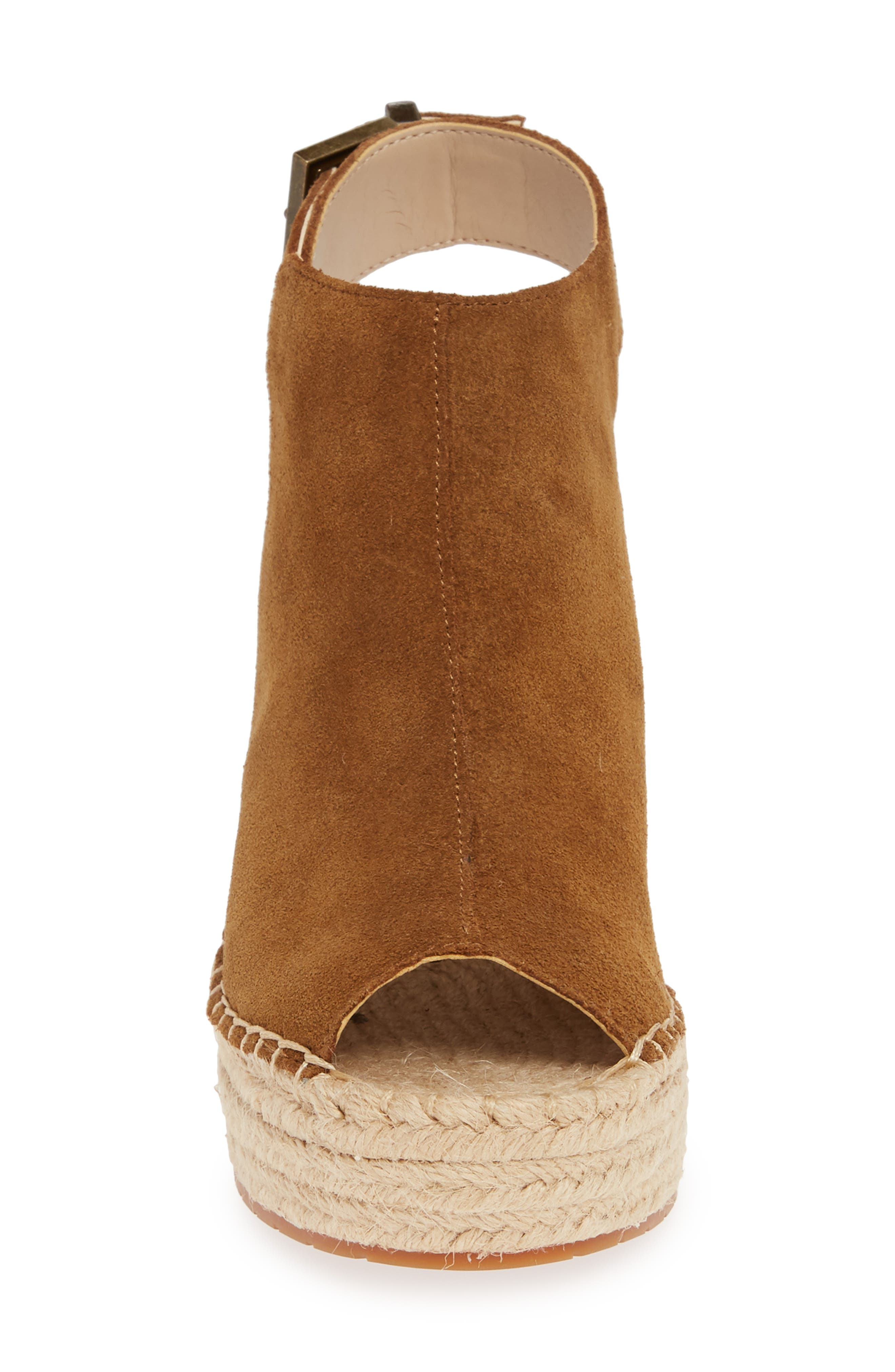 KENNETH COLE NEW YORK, 'Olivia' Espadrille Wedge Sandal, Alternate thumbnail 4, color, RUST SUEDE