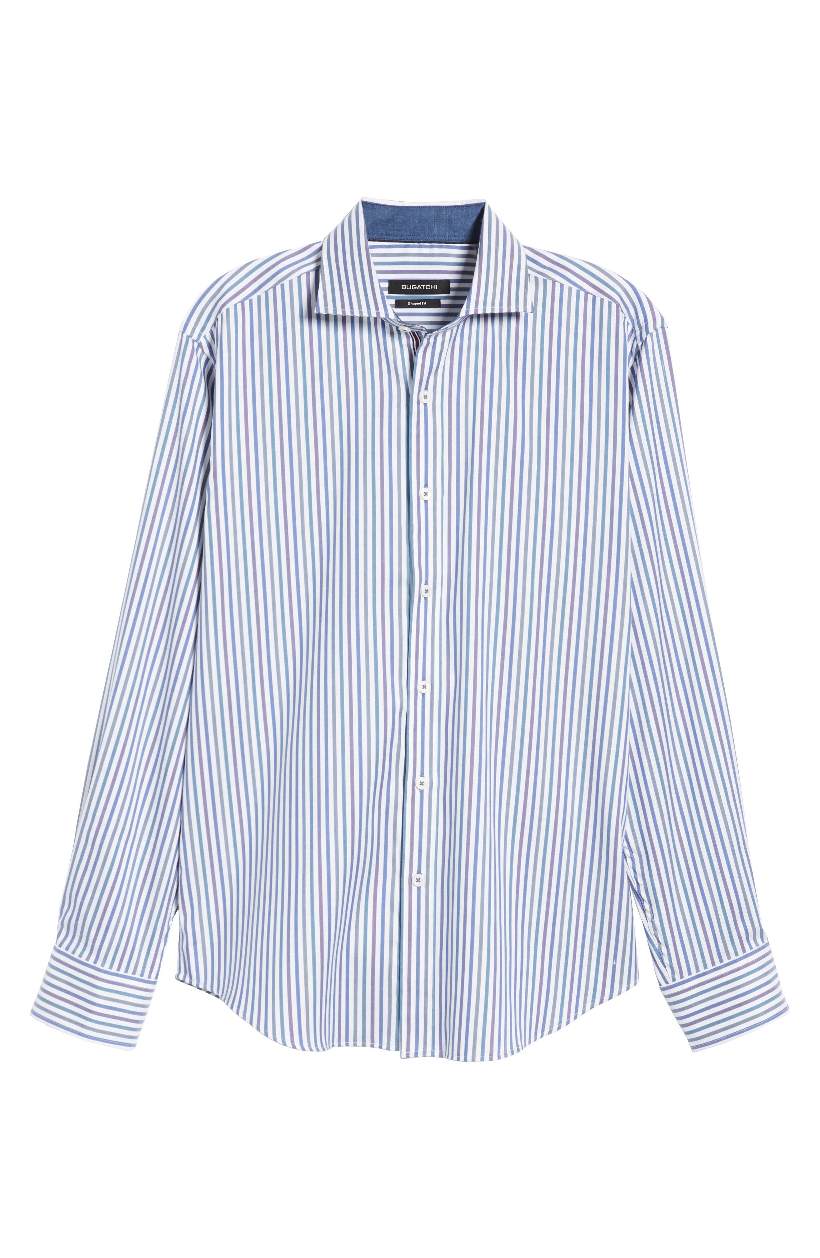 BUGATCHI, Classic Fit Stripe Sport Shirt, Alternate thumbnail 5, color, CHALK