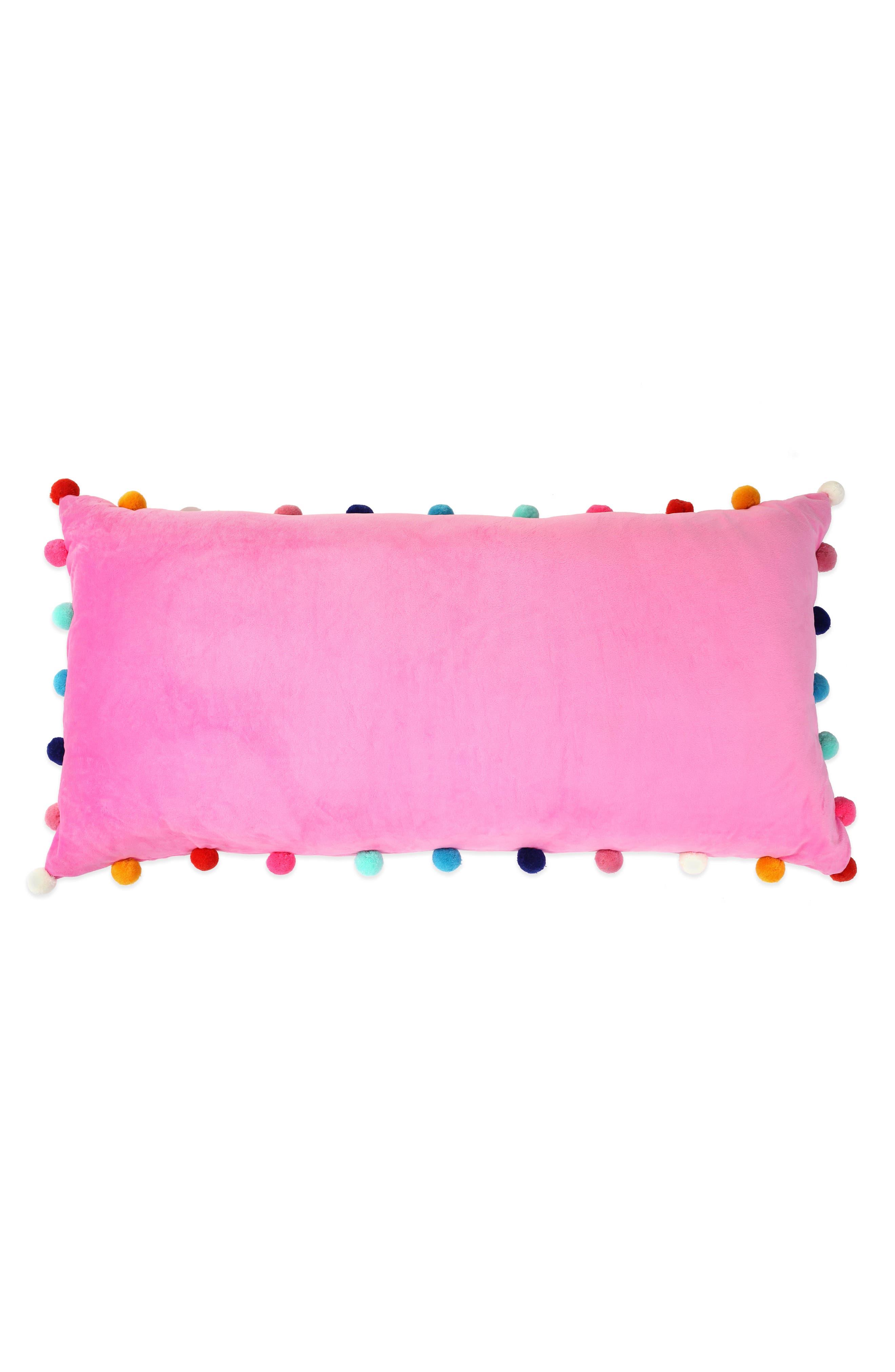 CAPELLI NEW YORK, Pompom Plush Pillow, Alternate thumbnail 2, color, 659