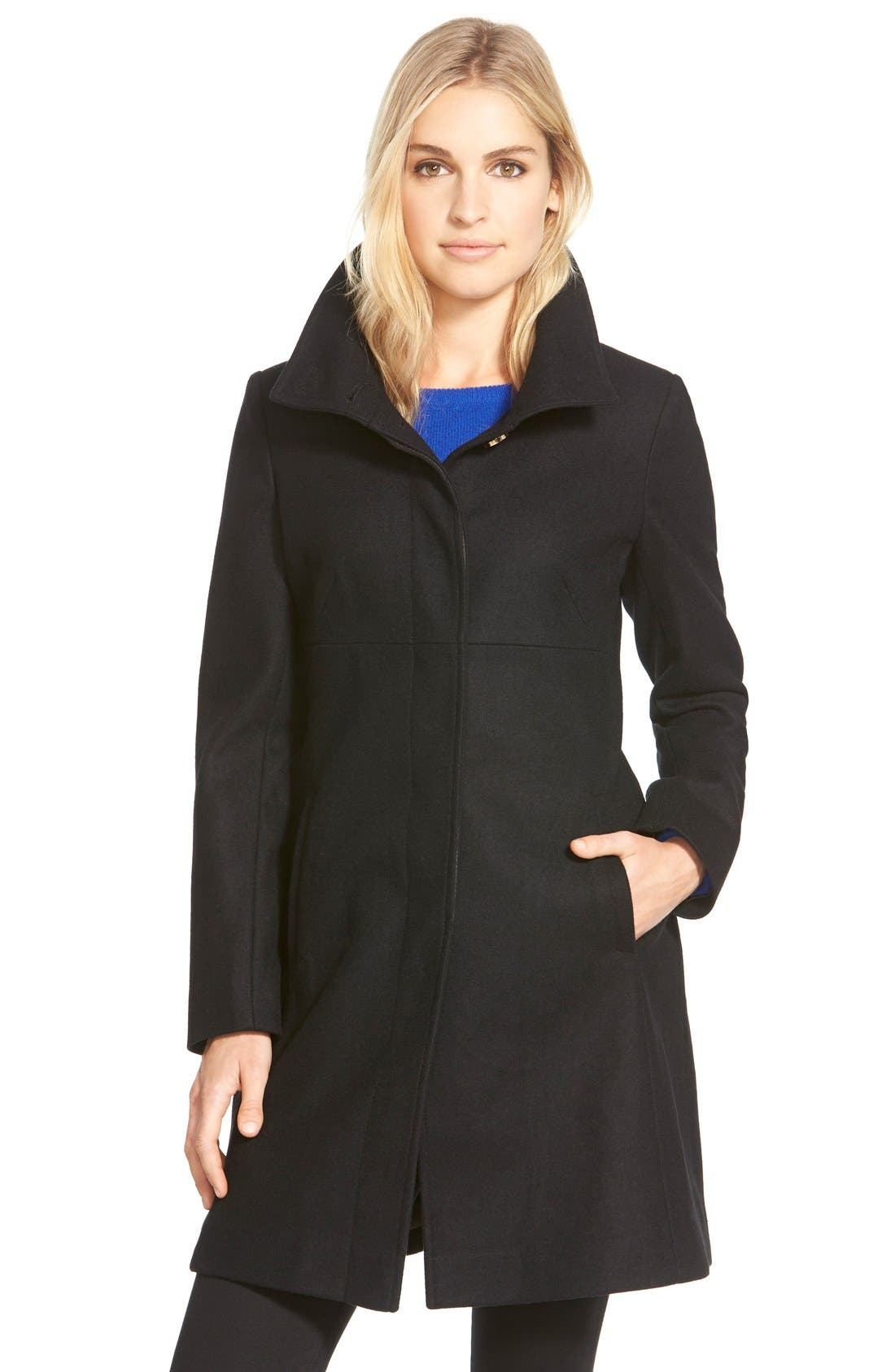 VIA SPIGA Stand Collar Wool Blend A-Line Coat, Main, color, 001