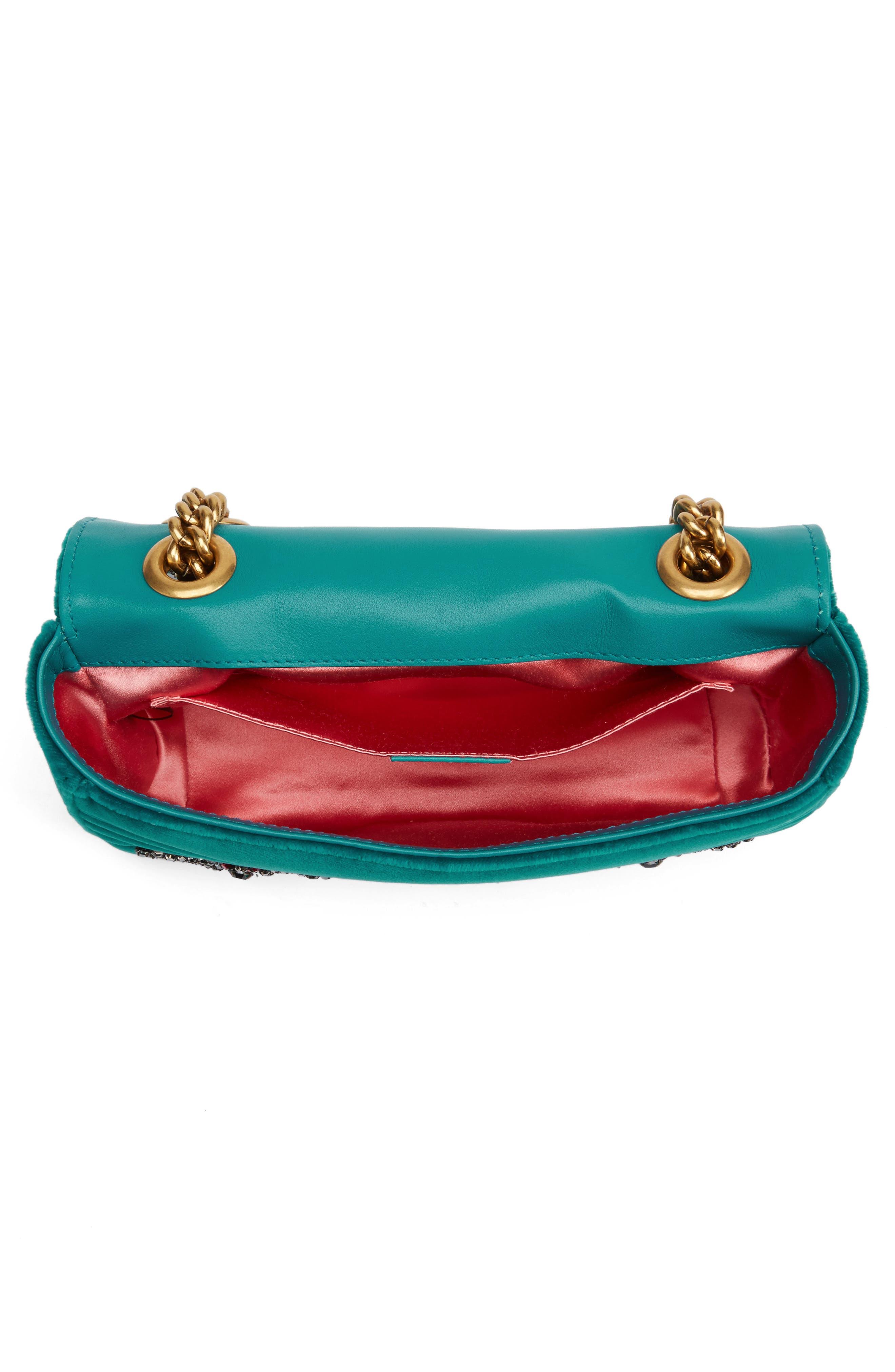 GUCCI, Mini GG Marmont Matelassé Velvet Shoulder Bag, Alternate thumbnail 4, color, PIVONE