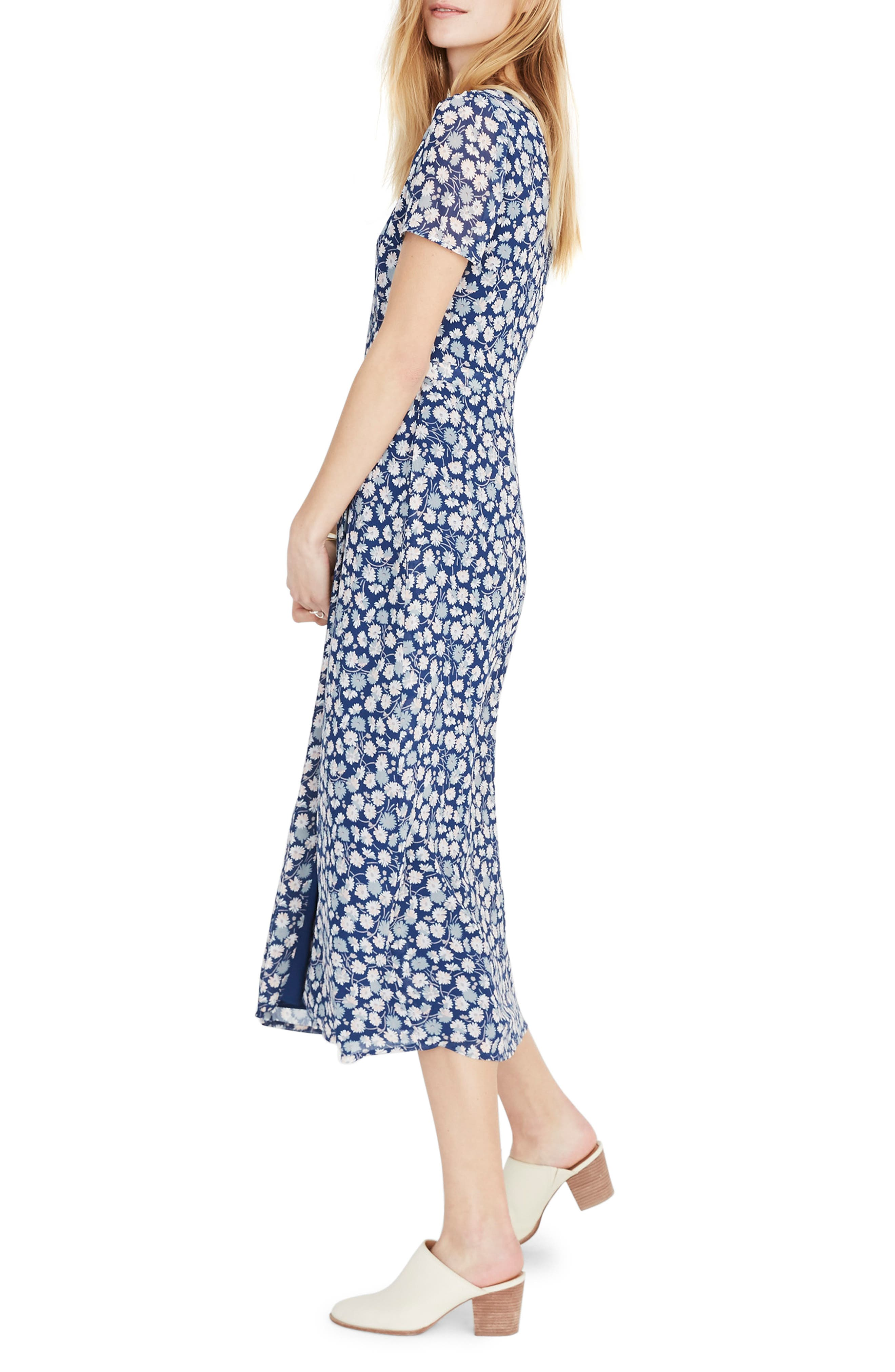 MADEWELL, Floral Wrap Front Midi Dress, Alternate thumbnail 2, color, 400