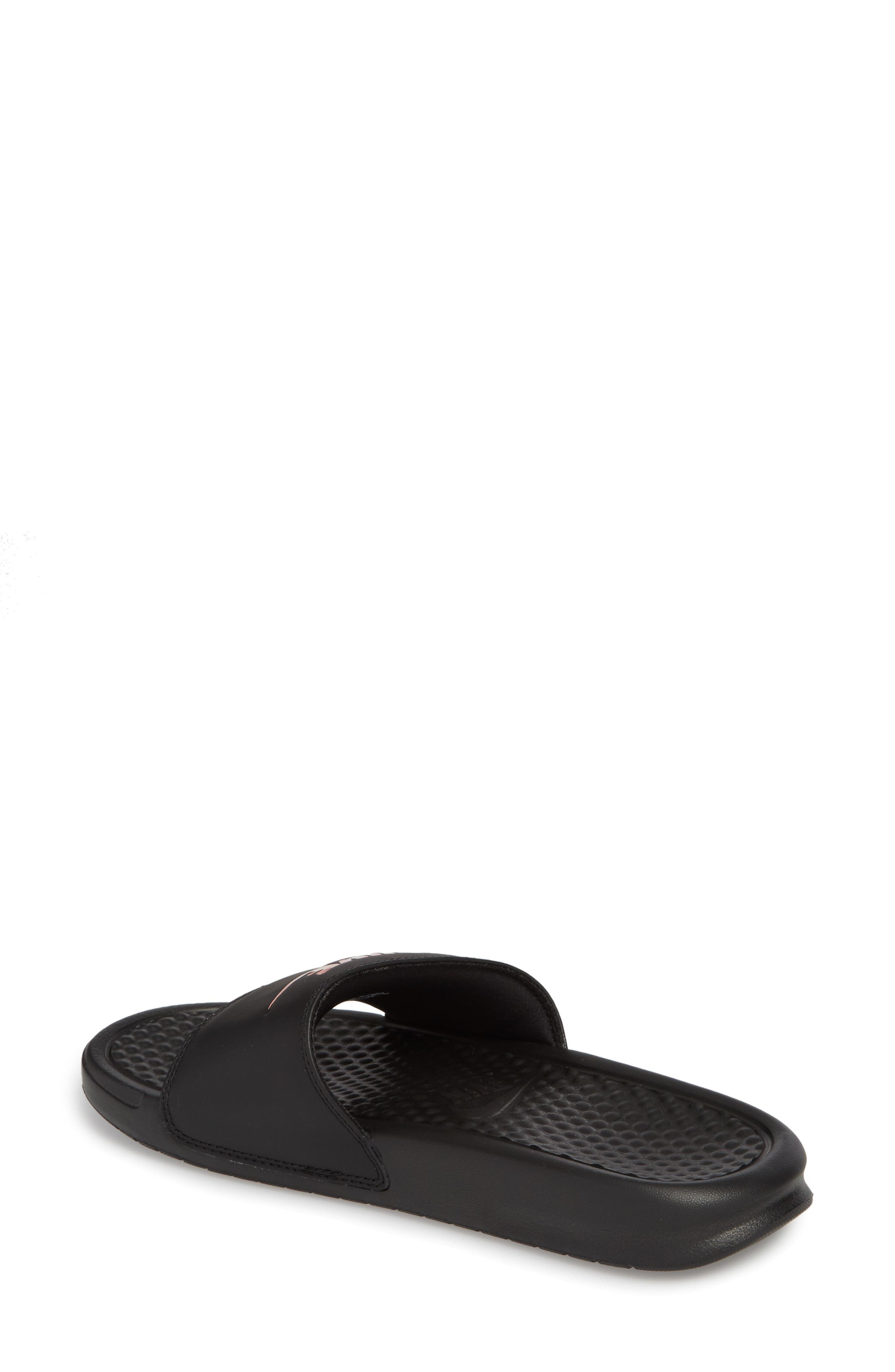 NIKE, Benassi JDI Slide Sandal, Alternate thumbnail 2, color, BLACK/ ROSE GOLD