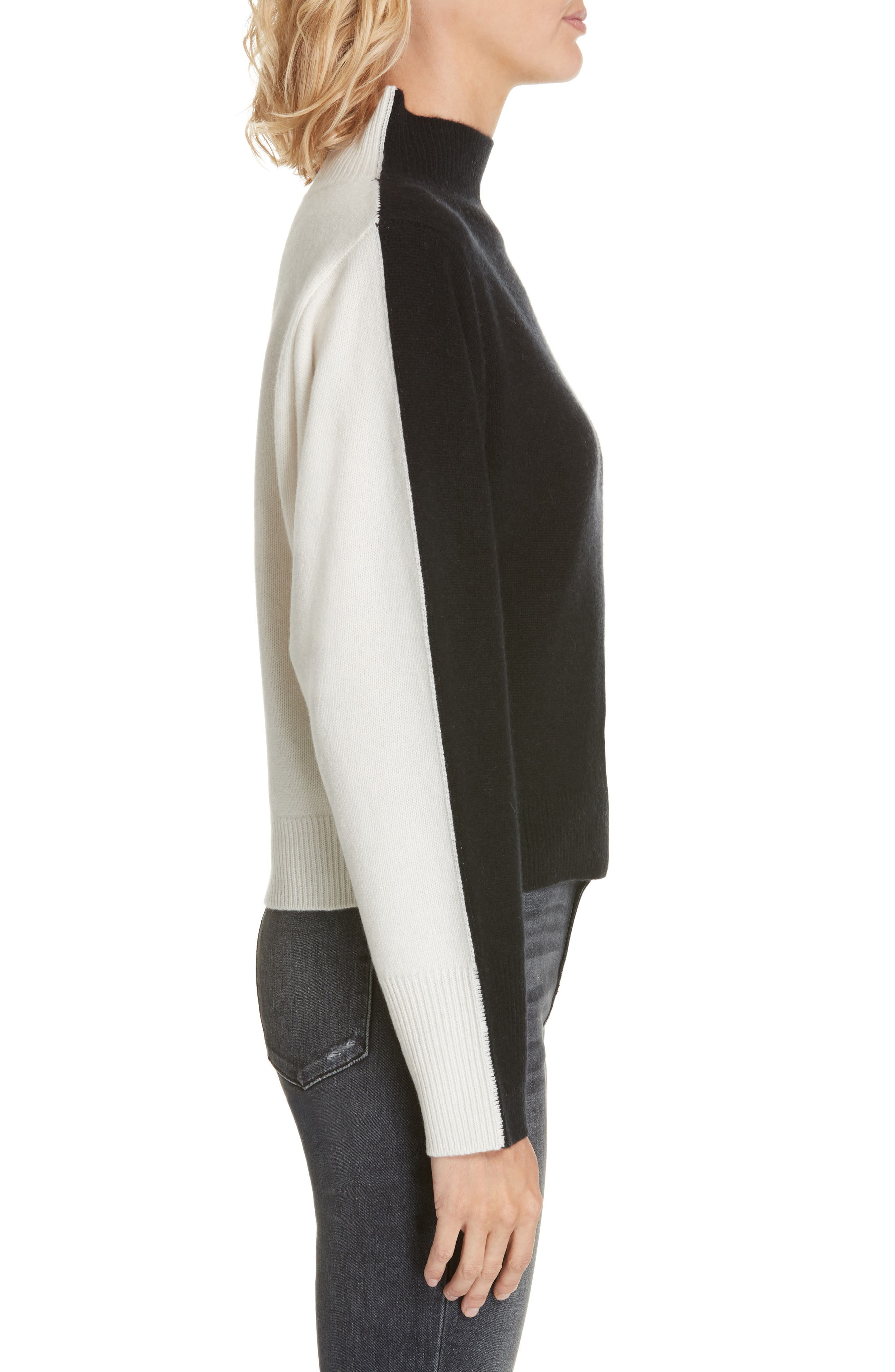 NORDSTROM SIGNATURE, Colorblock Cashmere Sweater, Alternate thumbnail 3, color, BLACK- IVORY COMBO