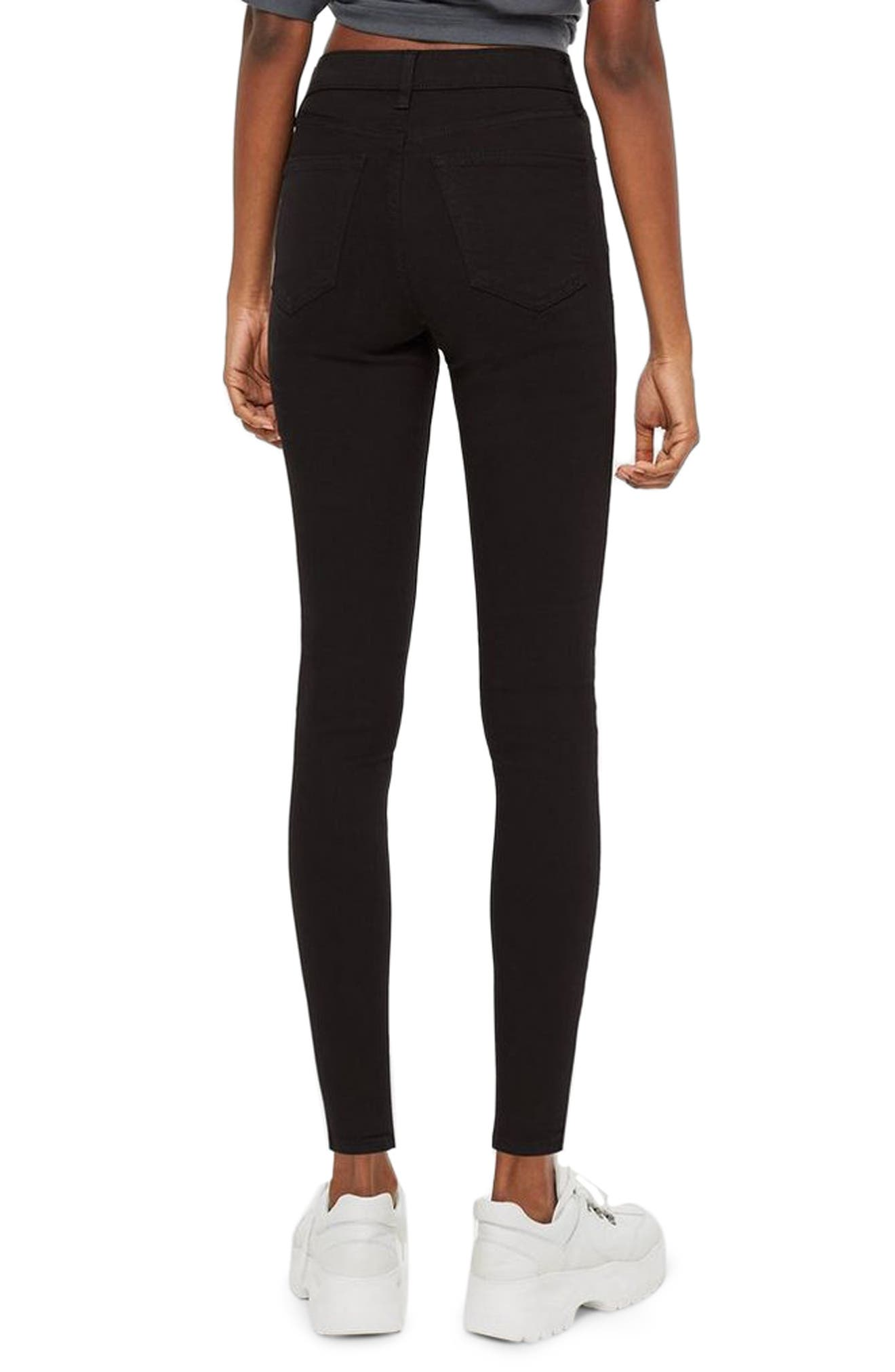 TOPSHOP, Jamie Black Jeans, Alternate thumbnail 2, color, BLACK