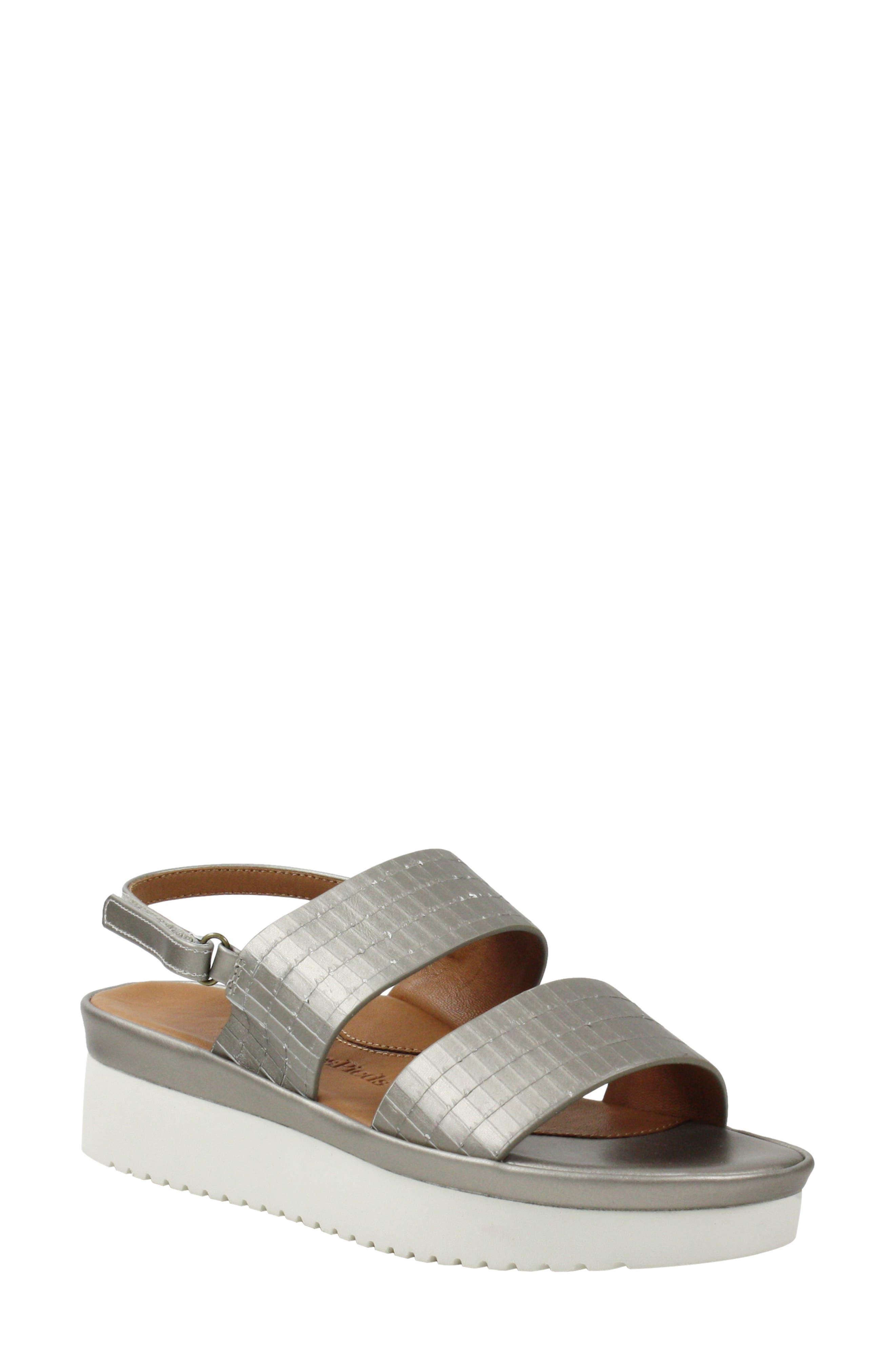 L'AMOUR DES PIEDS, Abruzzo Slingback Platform Wedge Sandal, Main thumbnail 1, color, PEARLIZED PLATINUM LEATHER