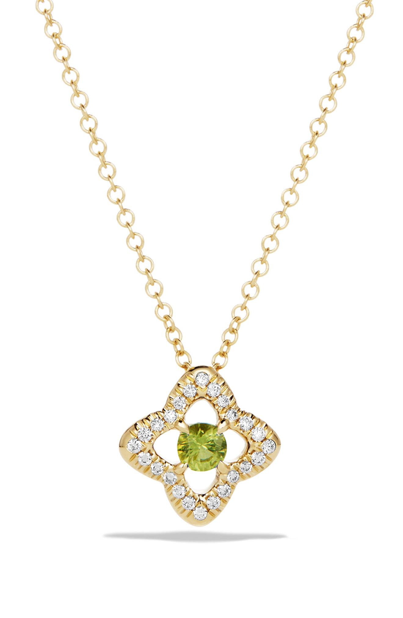 DAVID YURMAN, 'Venetian Quatrefoil' Necklace with Diamonds in 18K Gold, Main thumbnail 1, color, PERIDOT