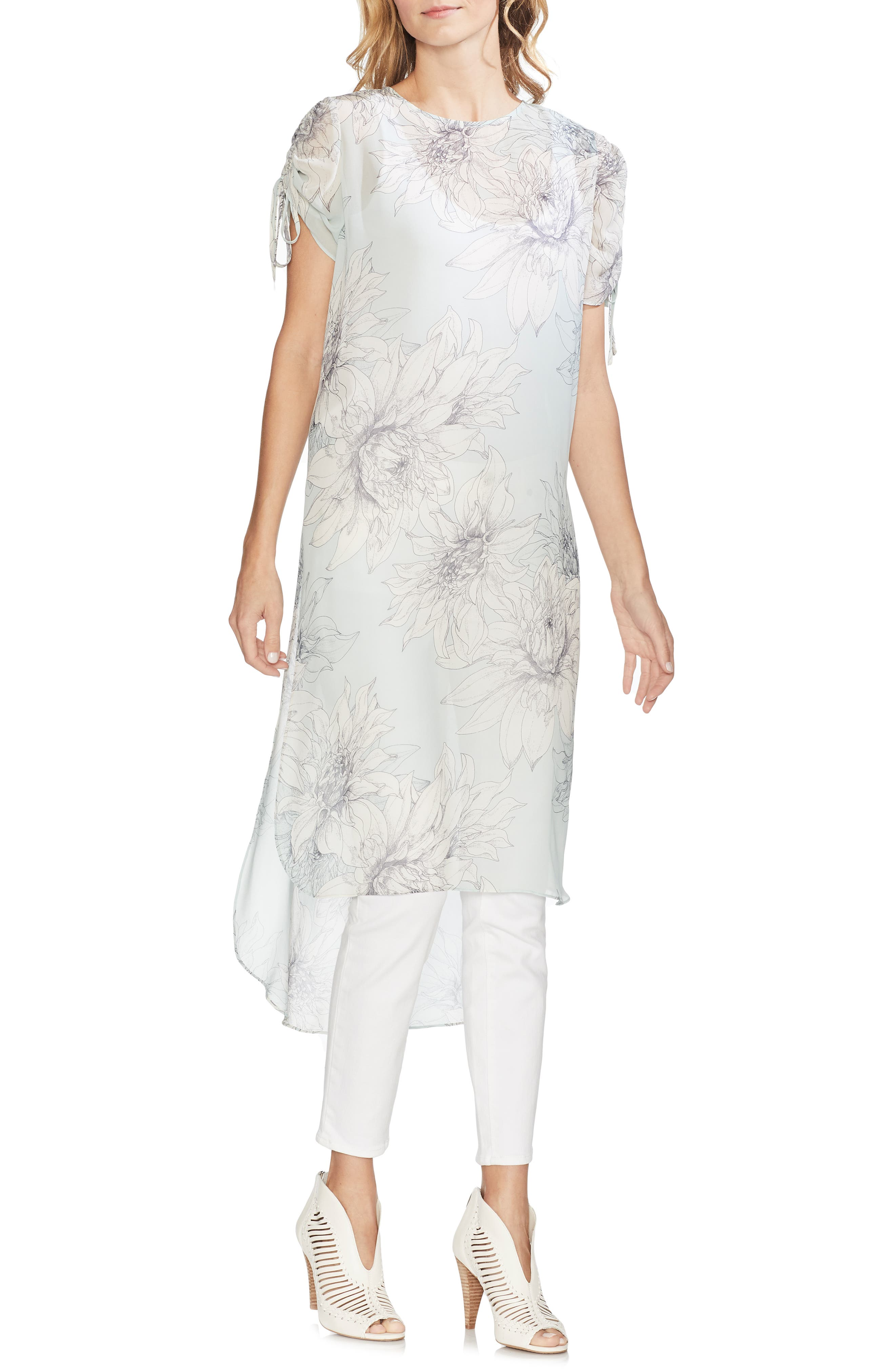 VINCE CAMUTO Pagoda Blossoms Shirttail Tunic, Main, color, MORNING DEW