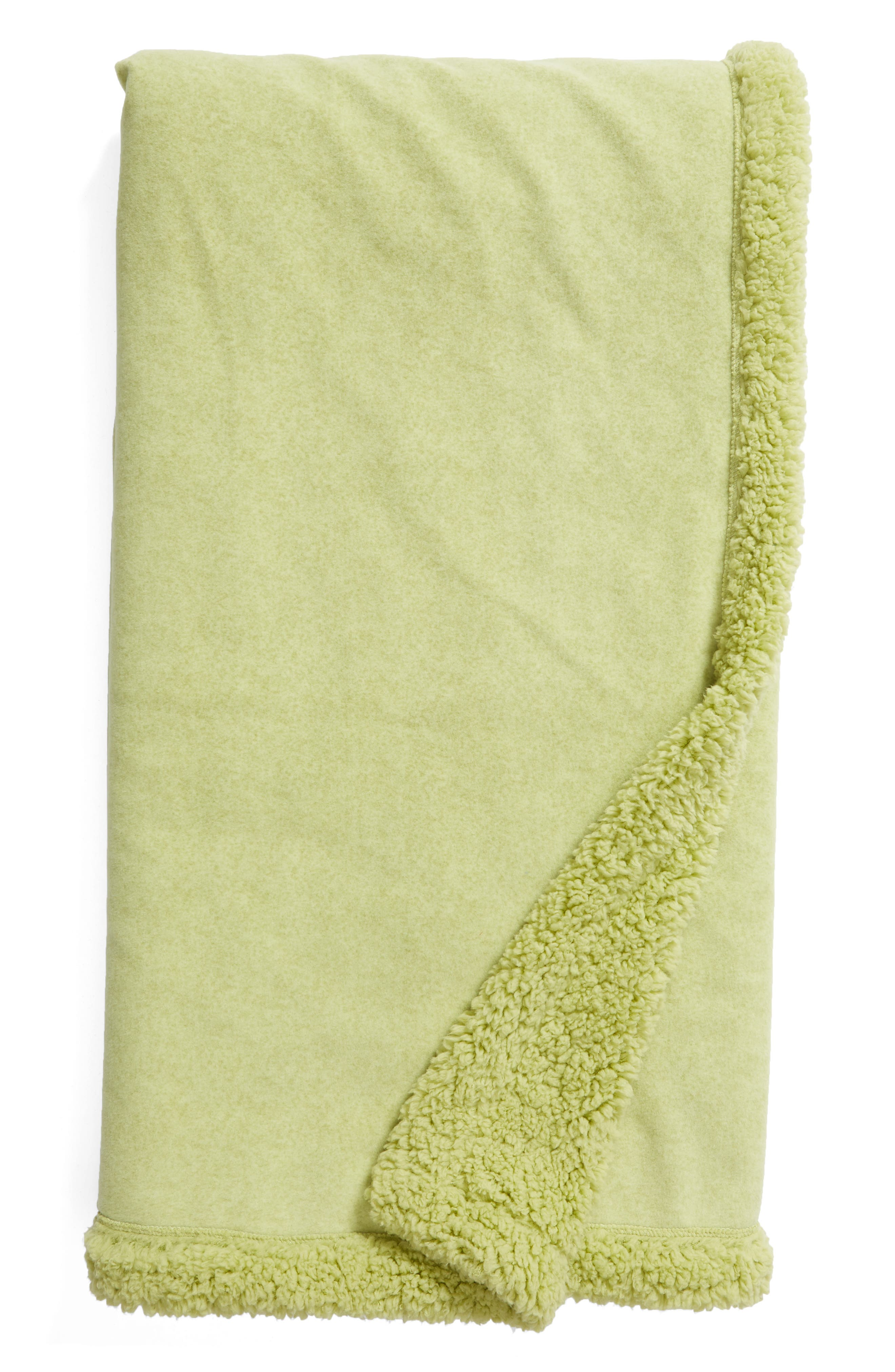 NORDSTROM AT HOME, Faux Fur Throw, Main thumbnail 1, color, OLIVE NILE