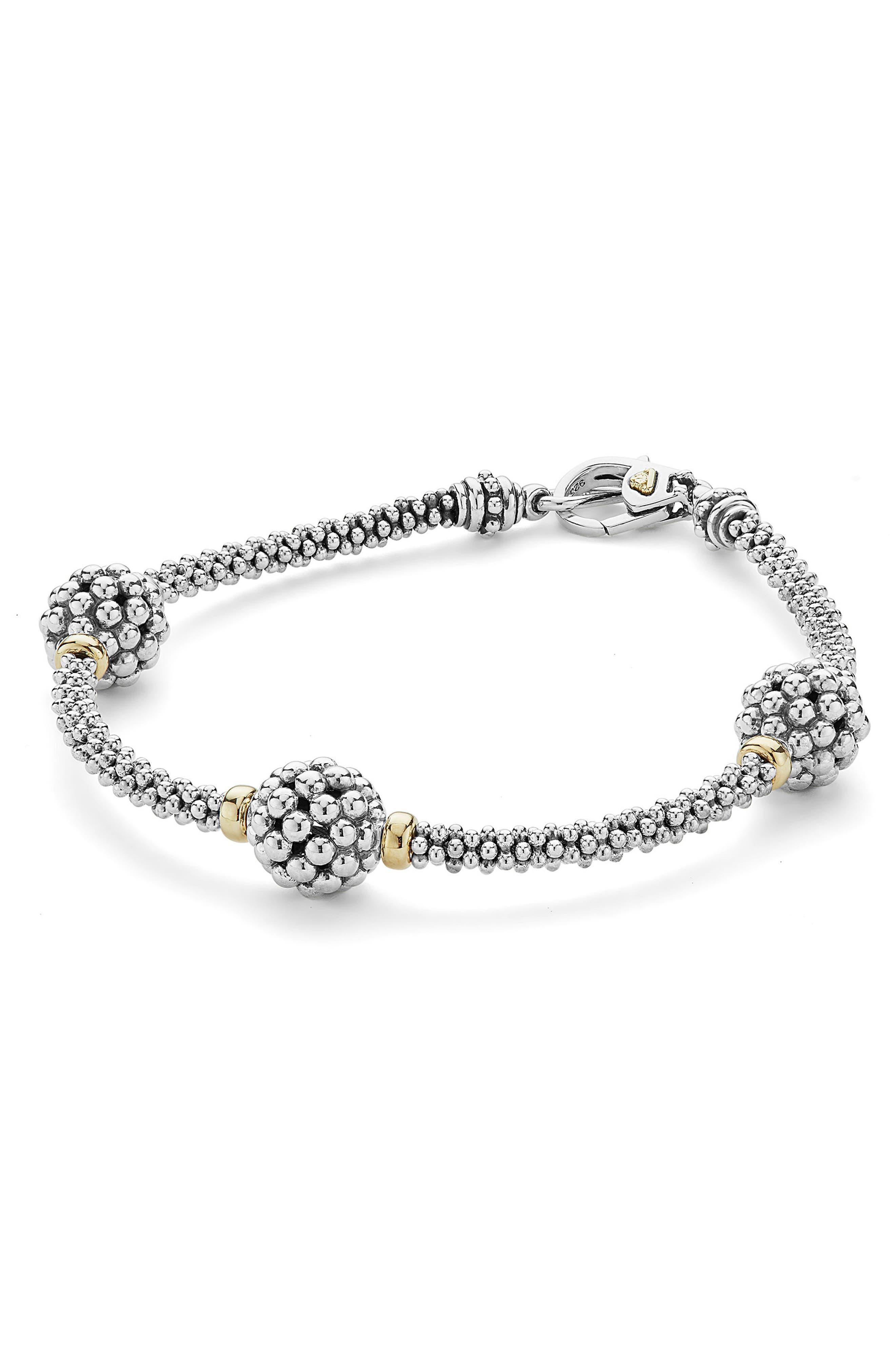 LAGOS, 'Caviar Forever' Ball Station Bracelet, Alternate thumbnail 4, color, SILVER/ GOLD