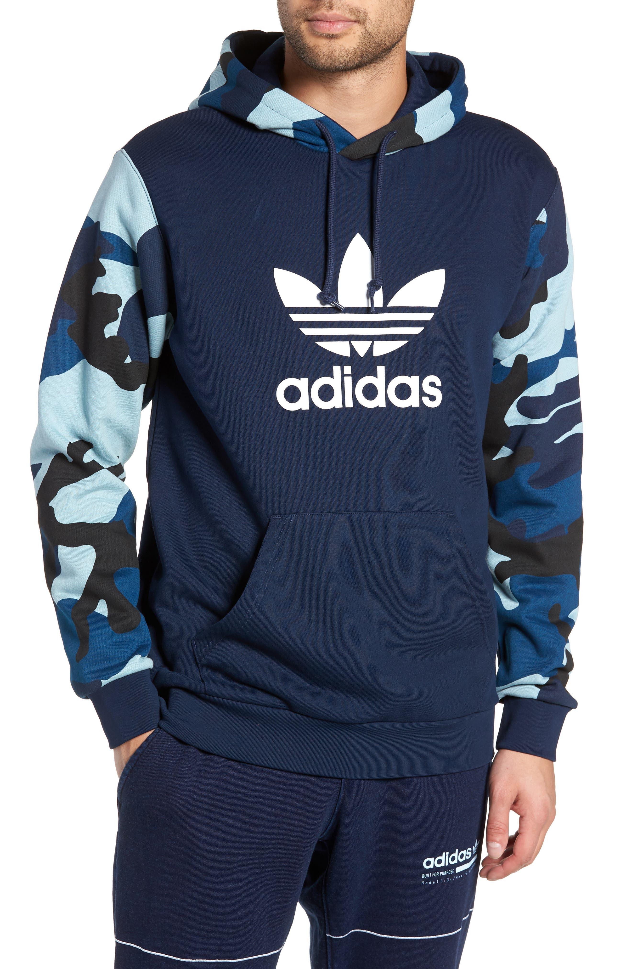 ADIDAS ORIGINALS Camo Hooded Sweatshirt, Main, color, COLLEGIATE NAVY