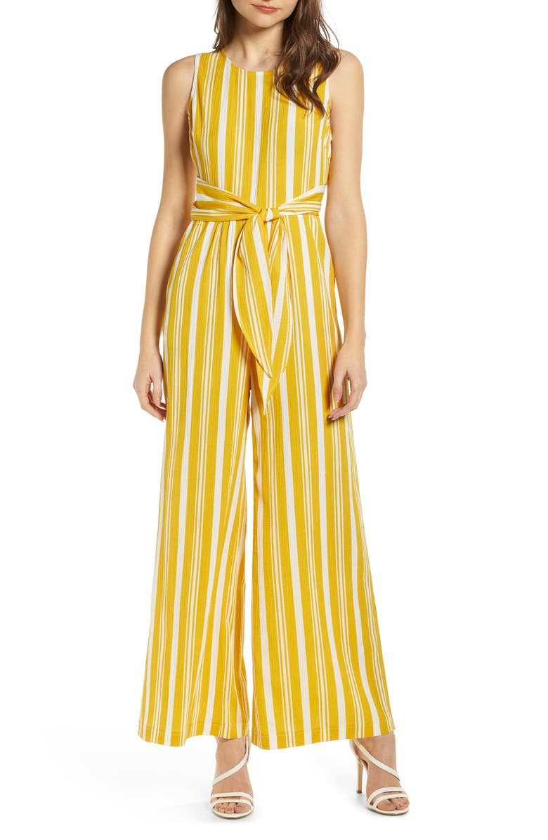 ALL IN FAVOR Tie Waist Wide Leg Jumpsuit, Main, color, YELLOW IVORY STRIPE