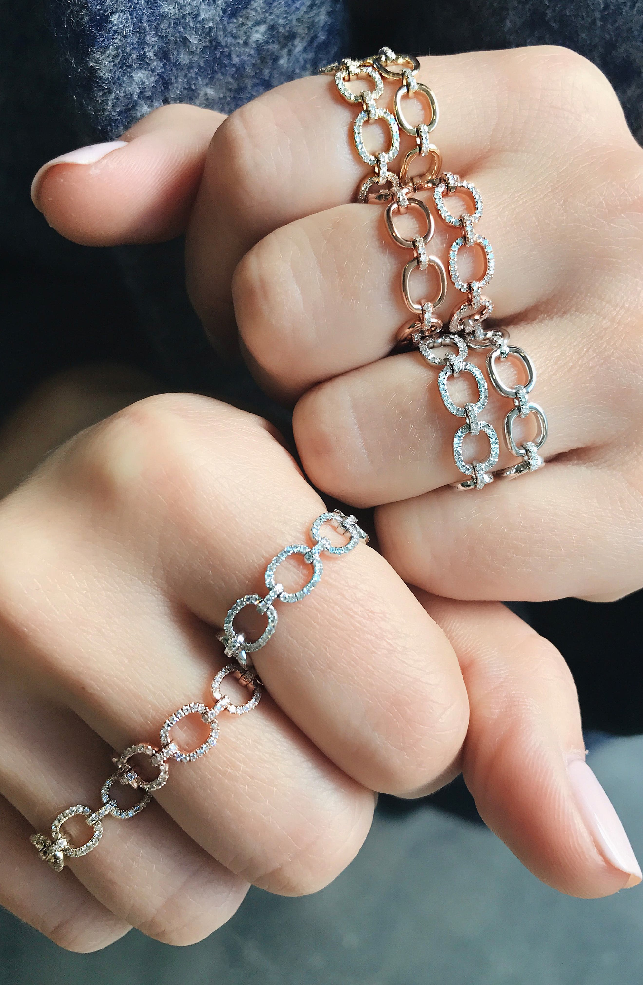 EF COLLECTION, Diamond Chain Link Ring, Alternate thumbnail 2, color, YELLOW GOLD
