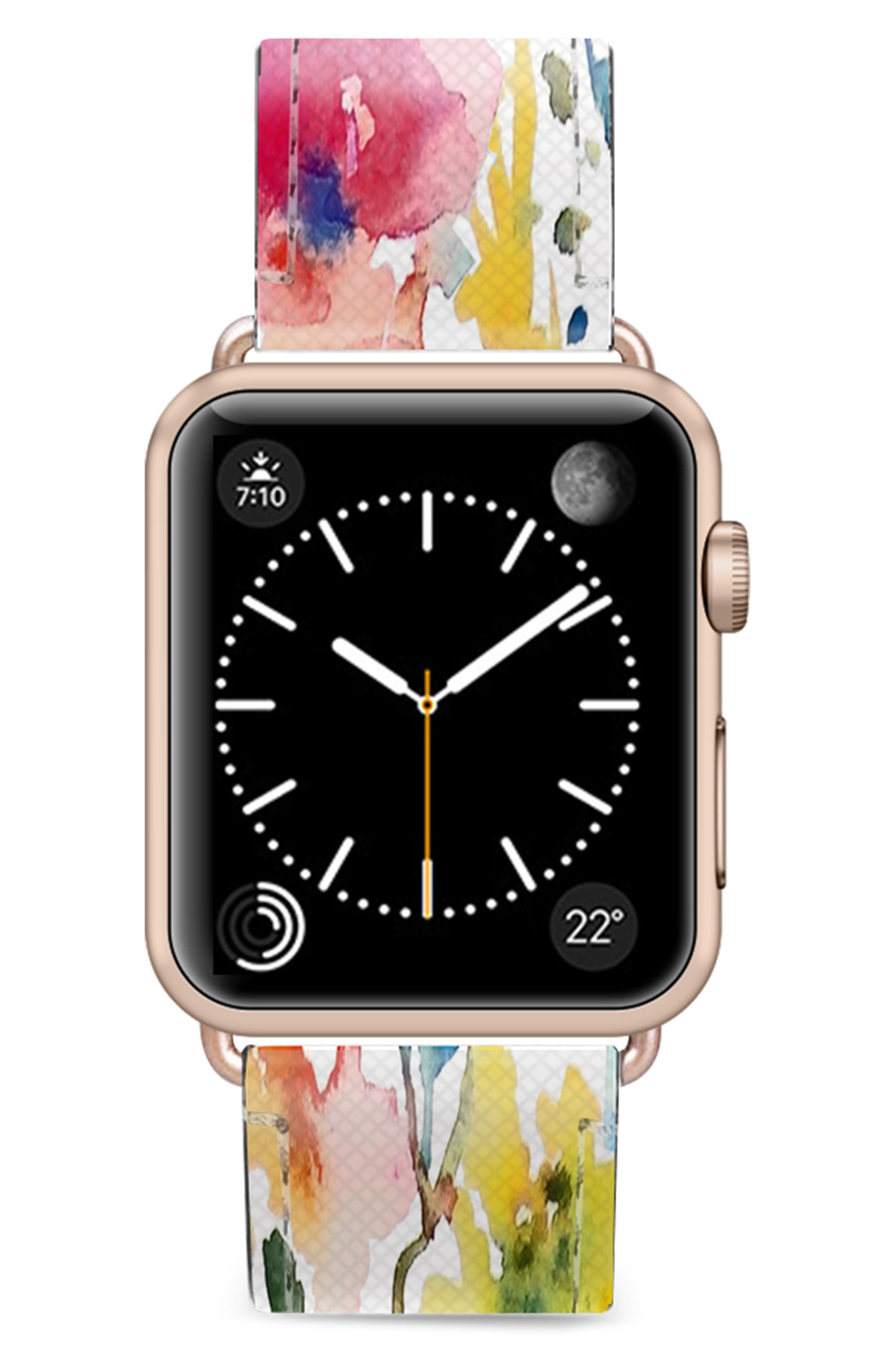 CASETIFY Saffiano From the Garden Faux Leather Apple Watch Strap, Main, color, WHITE/ ROSE GOLD