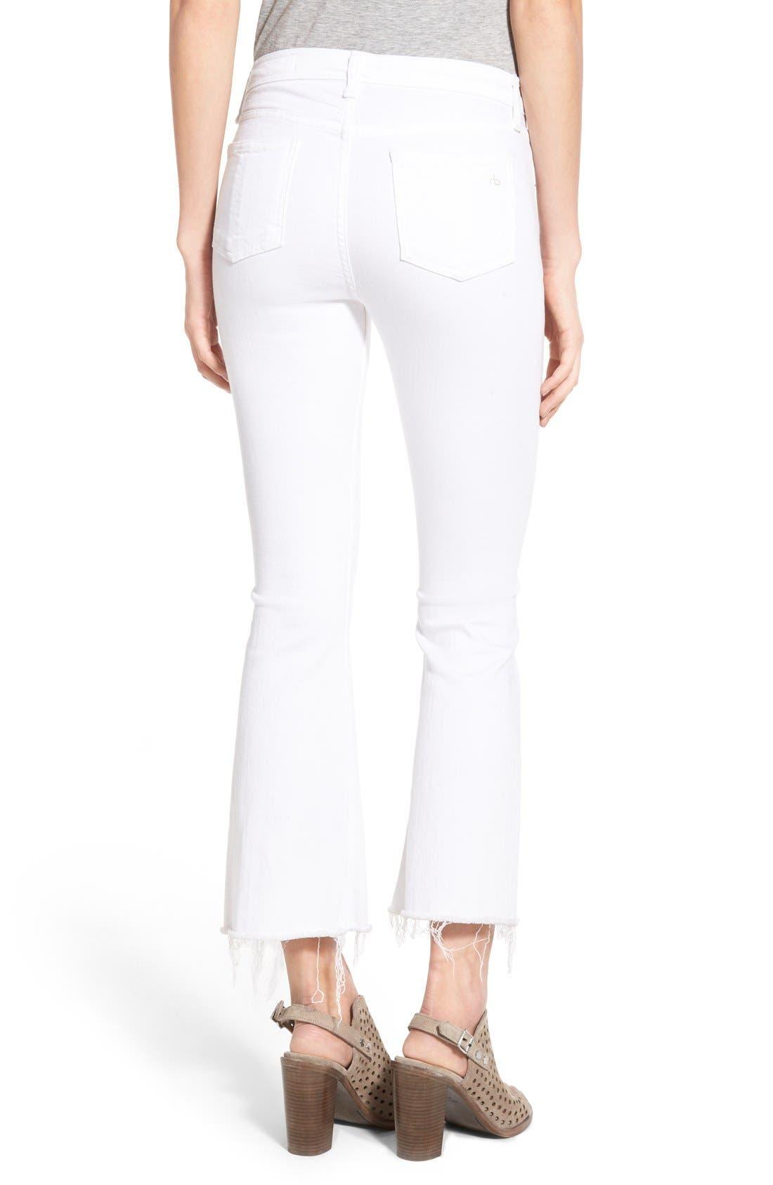 RAG & BONE, High Rise Raw Hem Crop Flare Jeans, Alternate thumbnail 3, color, BRIGHT WHITE