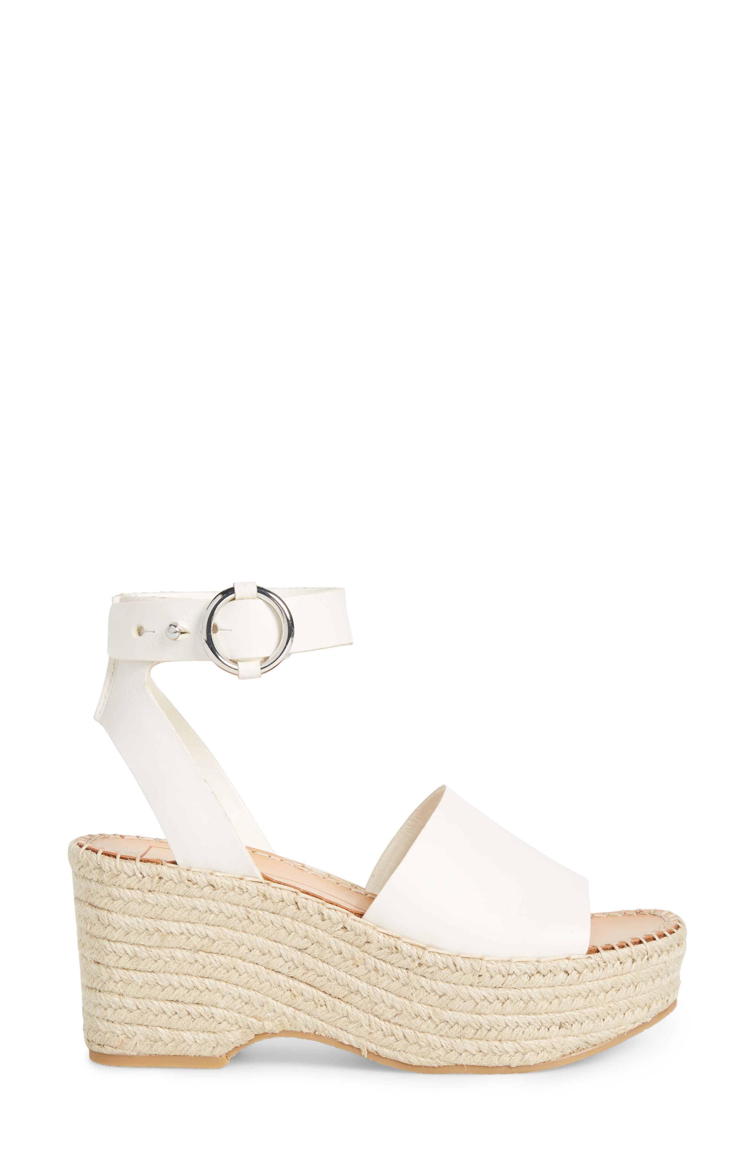 DOLCE VITA, Lesly Espadrille Platform Sandal, Alternate thumbnail 3, color, OFF WHITE