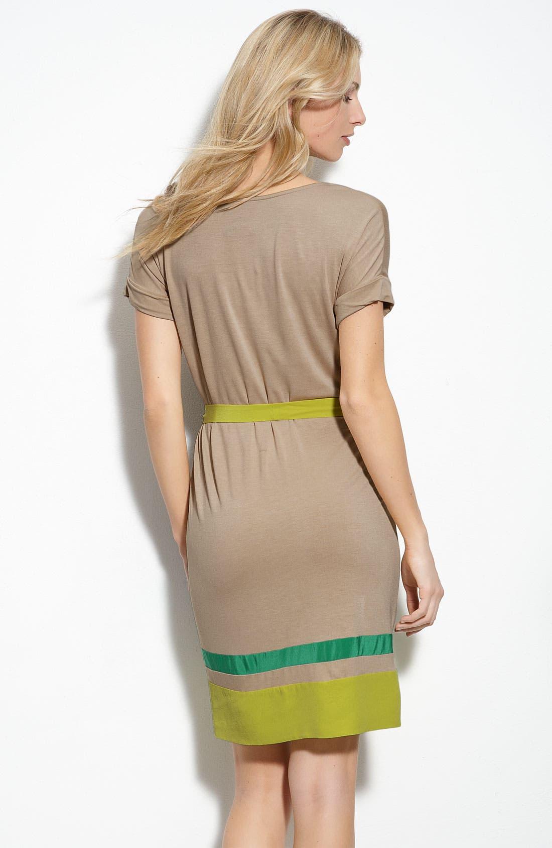BCBGMAXAZRIA, 'Louella' Colorblock Tie Waist Silk Dress, Alternate thumbnail 2, color, 400