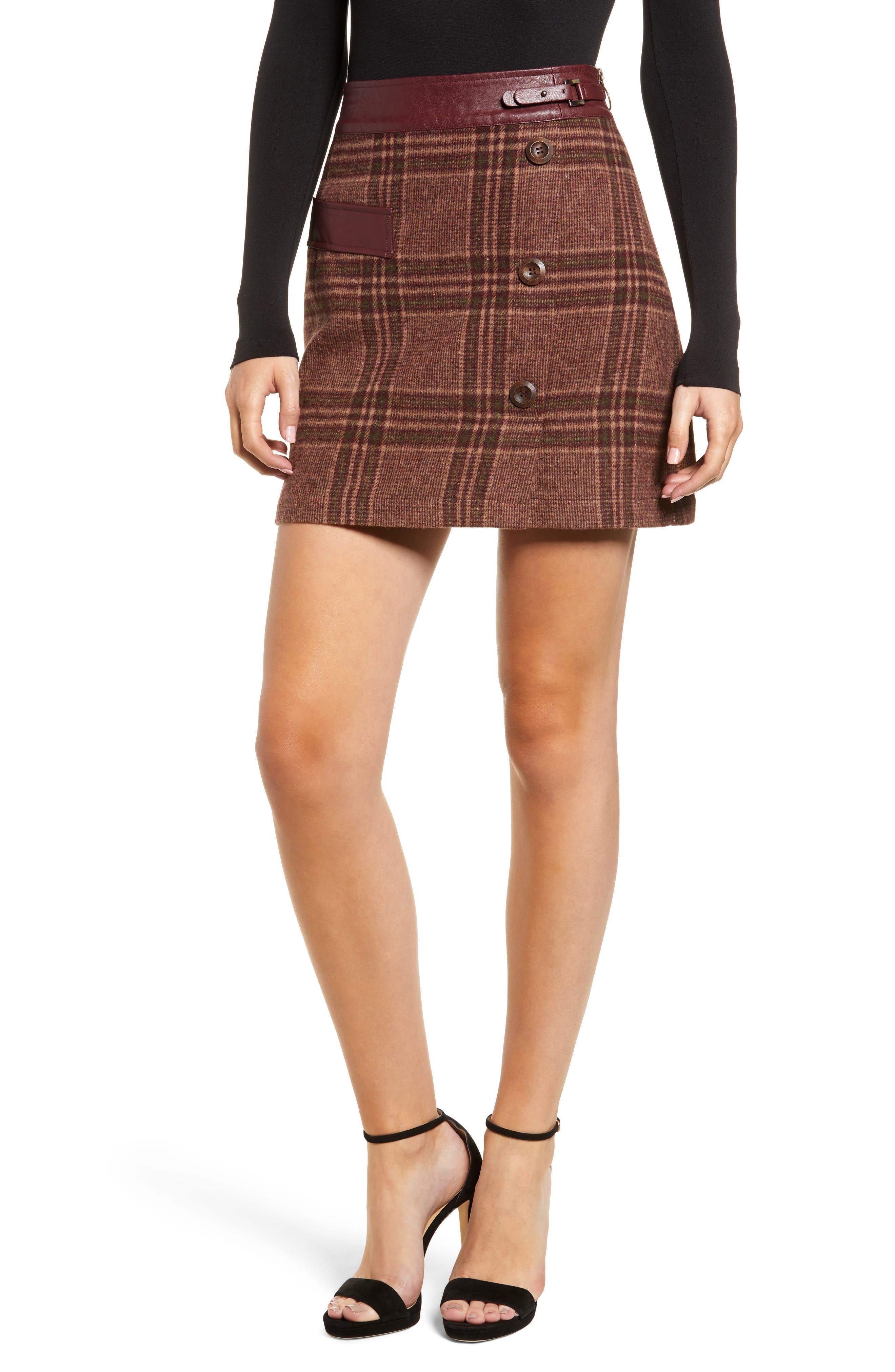 MOON RIVER Plaid Miniskirt, Main, color, 200