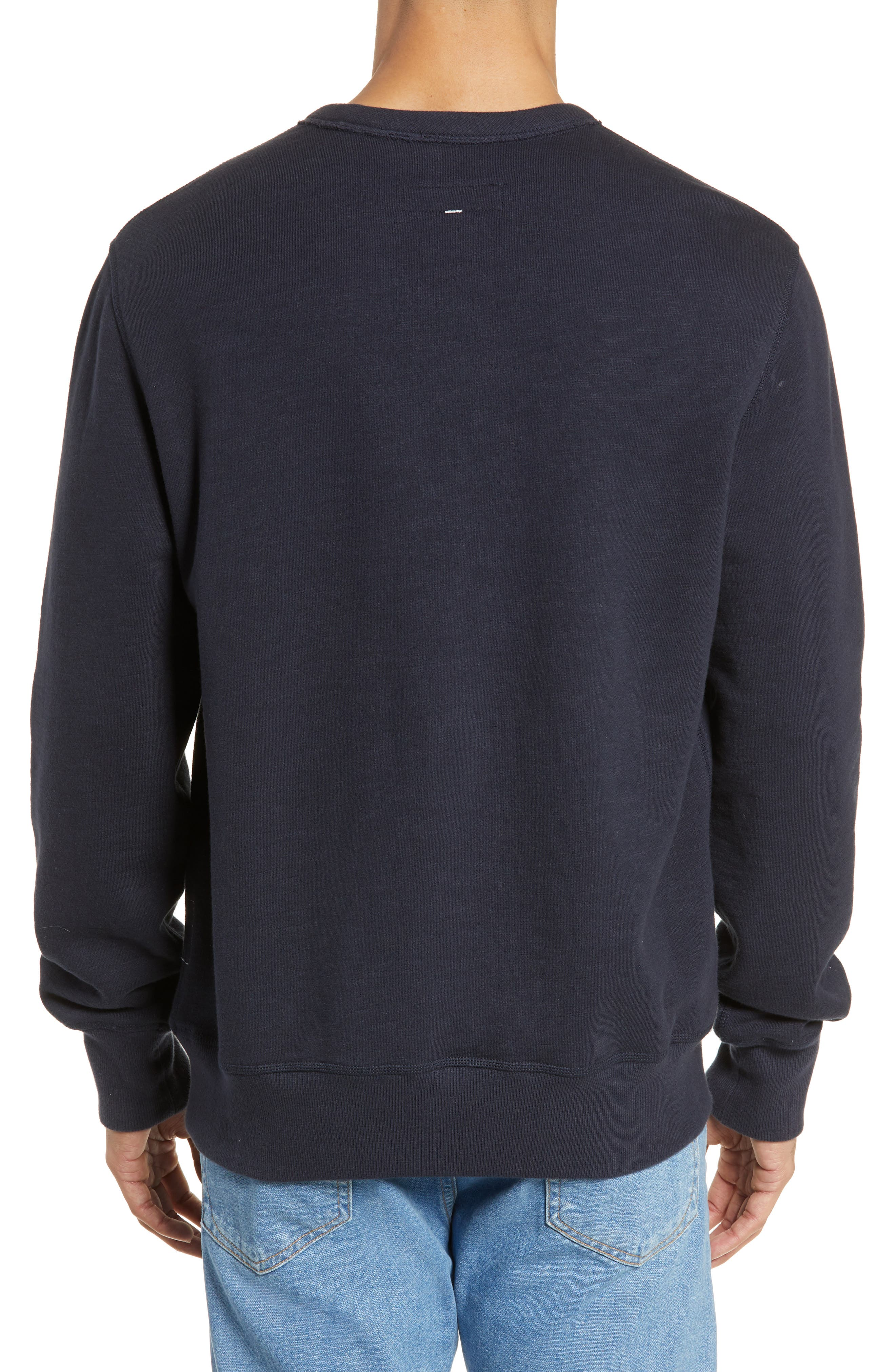RAG & BONE, Graphic Embroidered Sweatshirt, Alternate thumbnail 2, color, NAVY