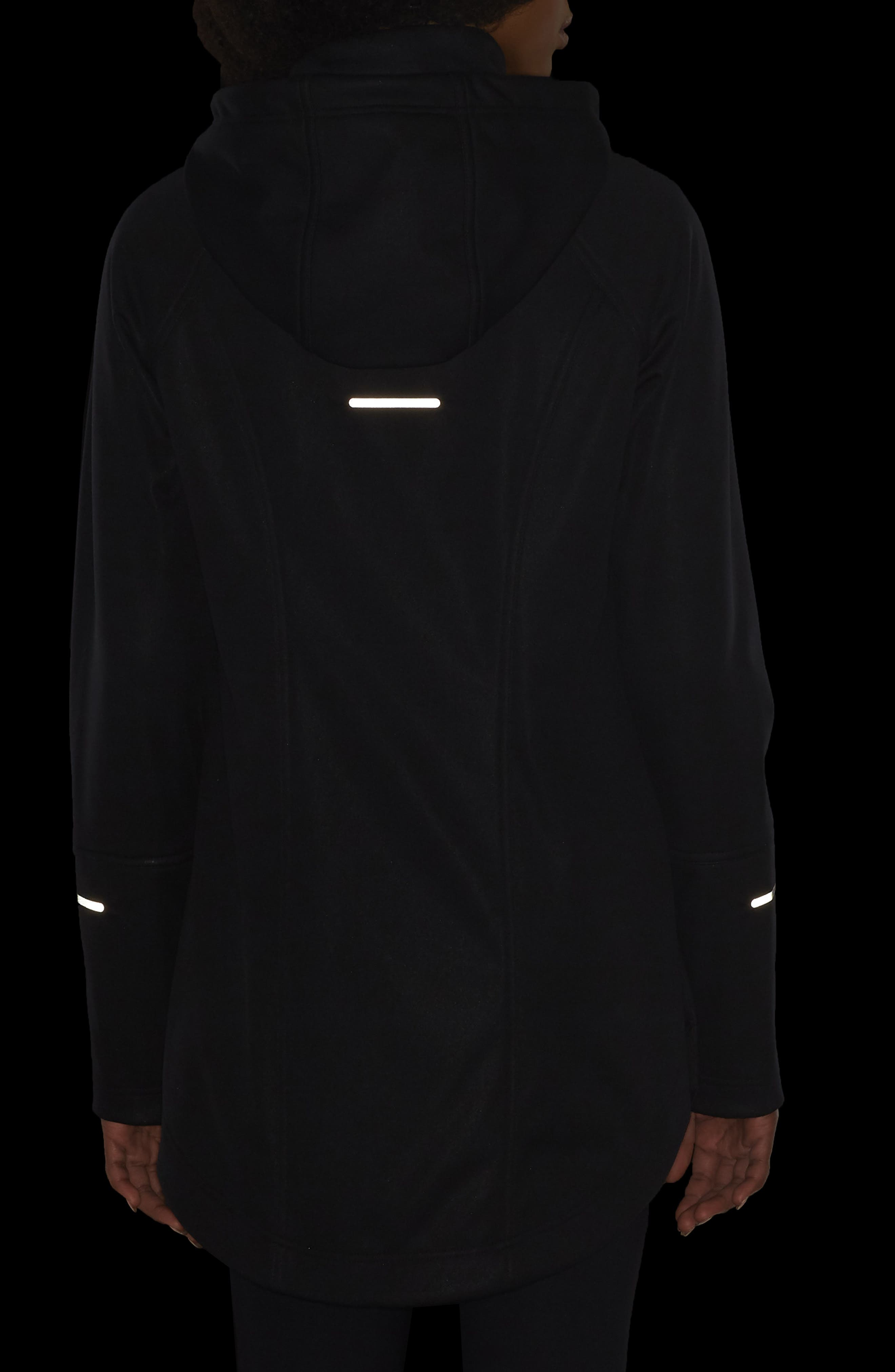 ZELLA, Aero Hooded Soft Shell Training Jacket, Alternate thumbnail 5, color, 001