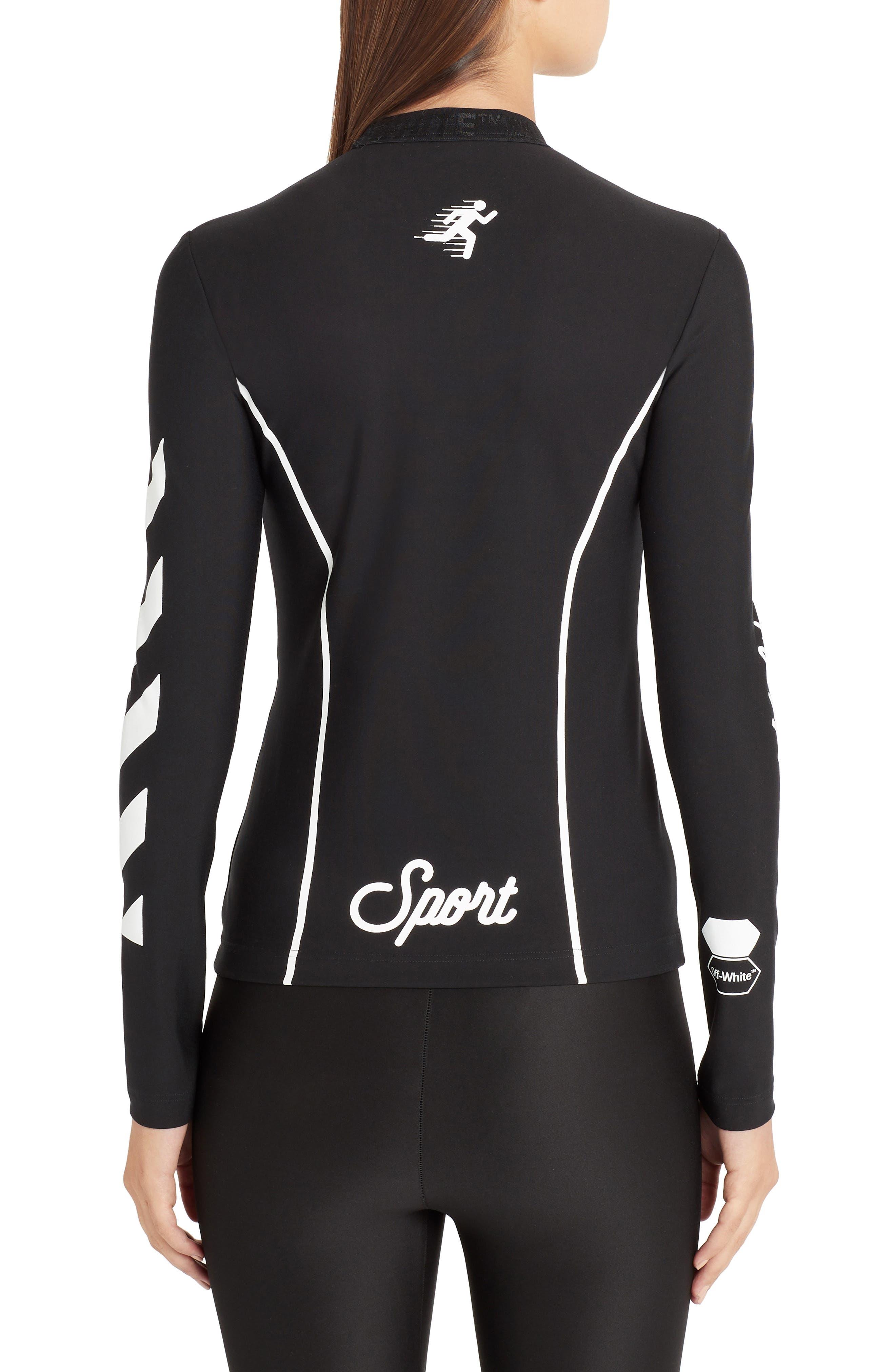 OFF-WHITE, Diagonal Stripe Sport Top, Alternate thumbnail 2, color, BLACK WHITE
