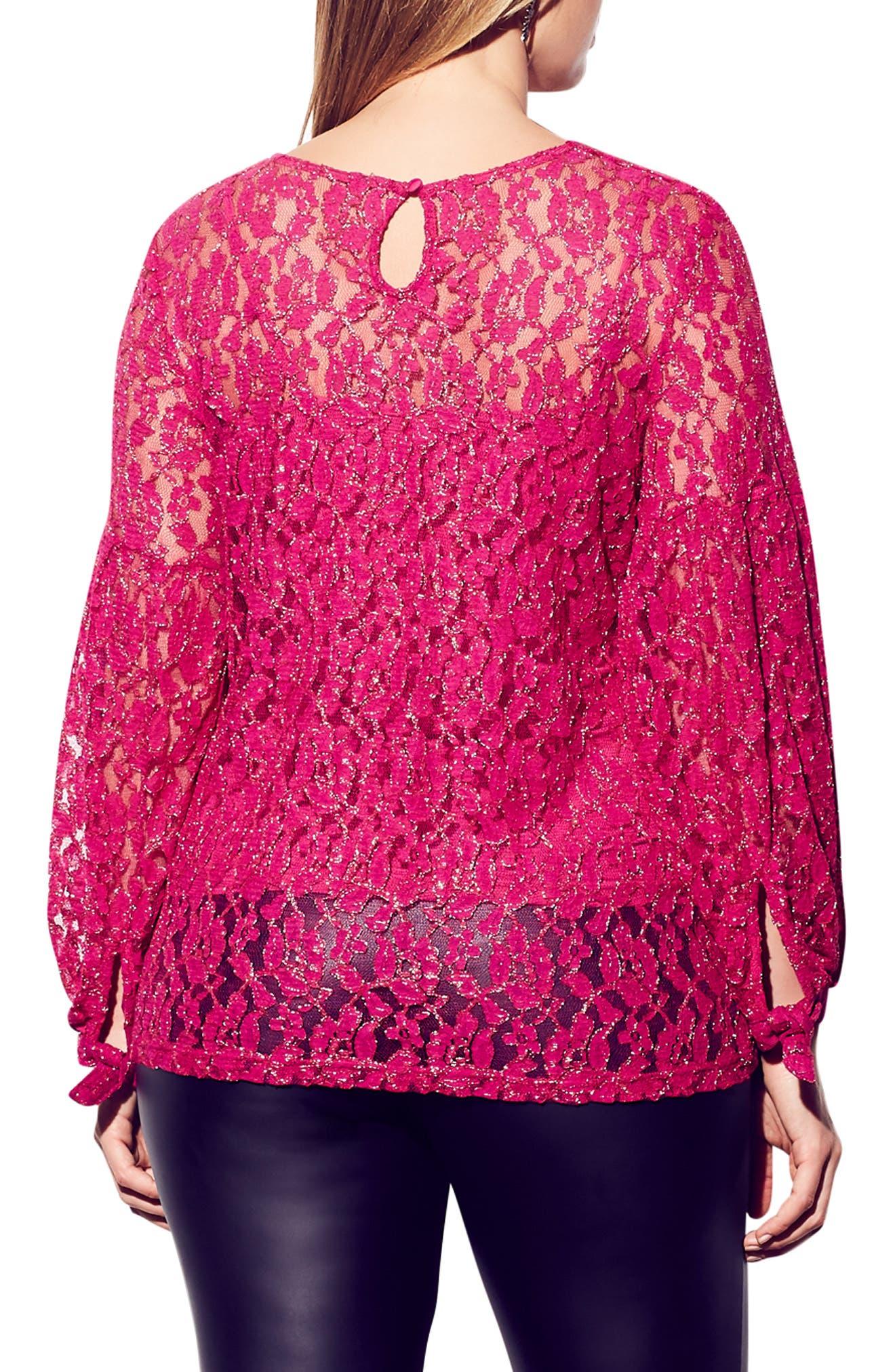 CITY CHIC, Metallic Detail Cotton Blend Lace Blouse, Alternate thumbnail 2, color, MAGENTA