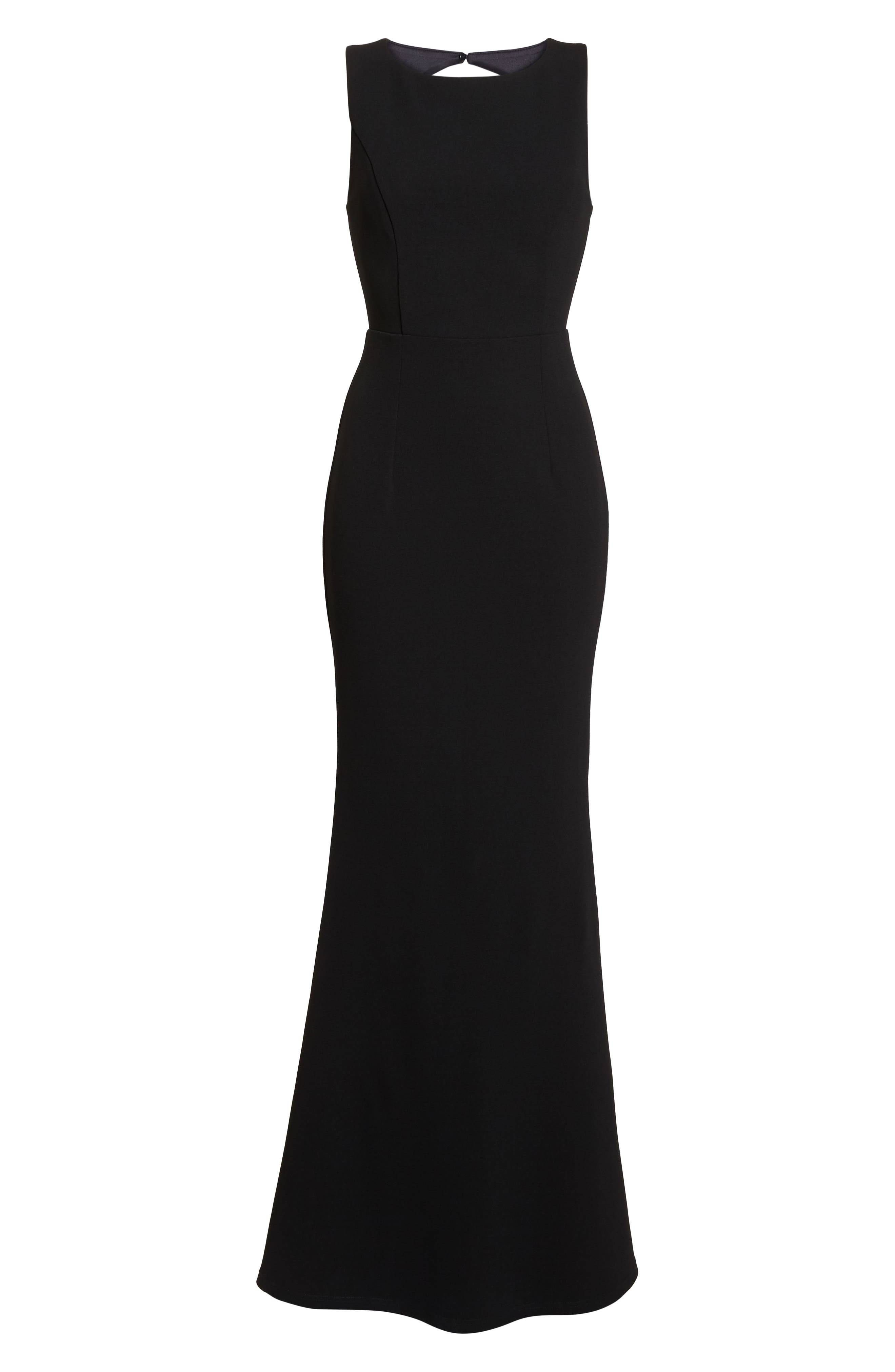LULUS, Mine Backless Trumpet Gown, Alternate thumbnail 7, color, BLACK