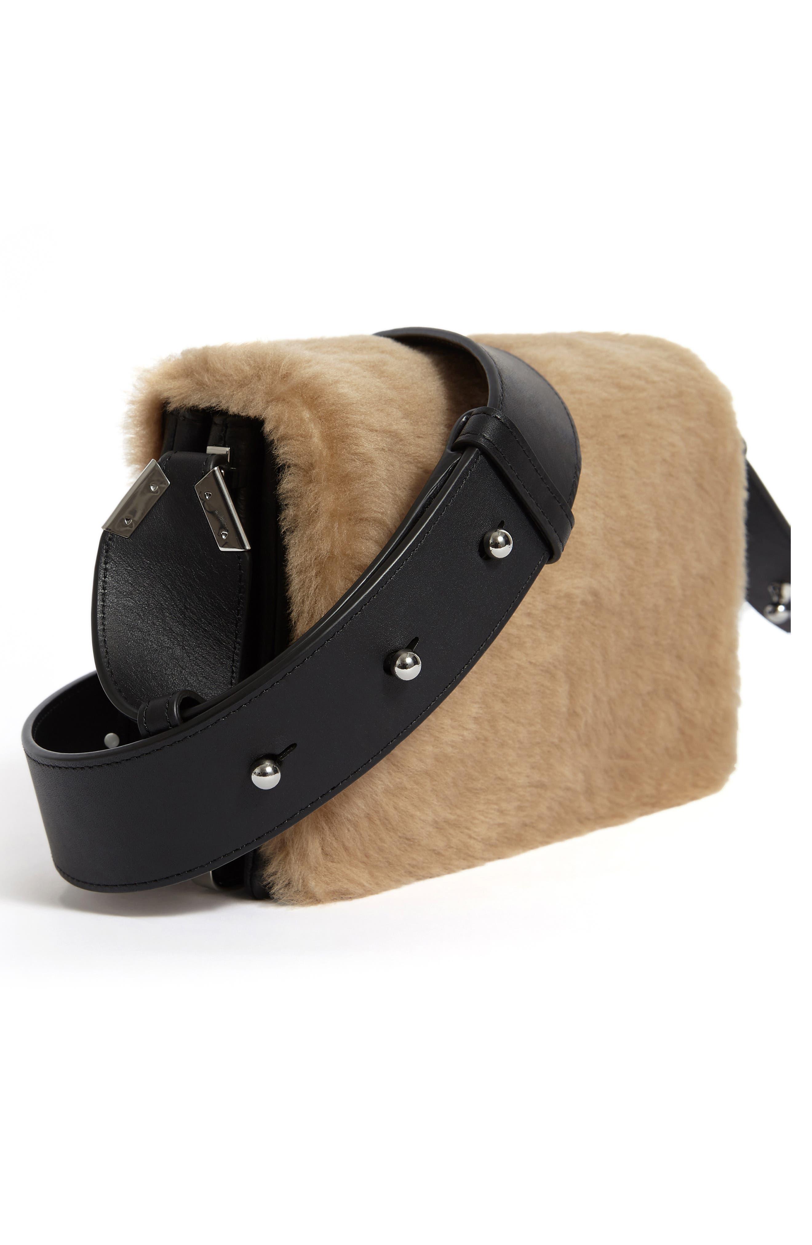 ALLSAINTS, Versailles Leather & Genuine Shearling Shoulder Bag, Alternate thumbnail 6, color, CAMEL