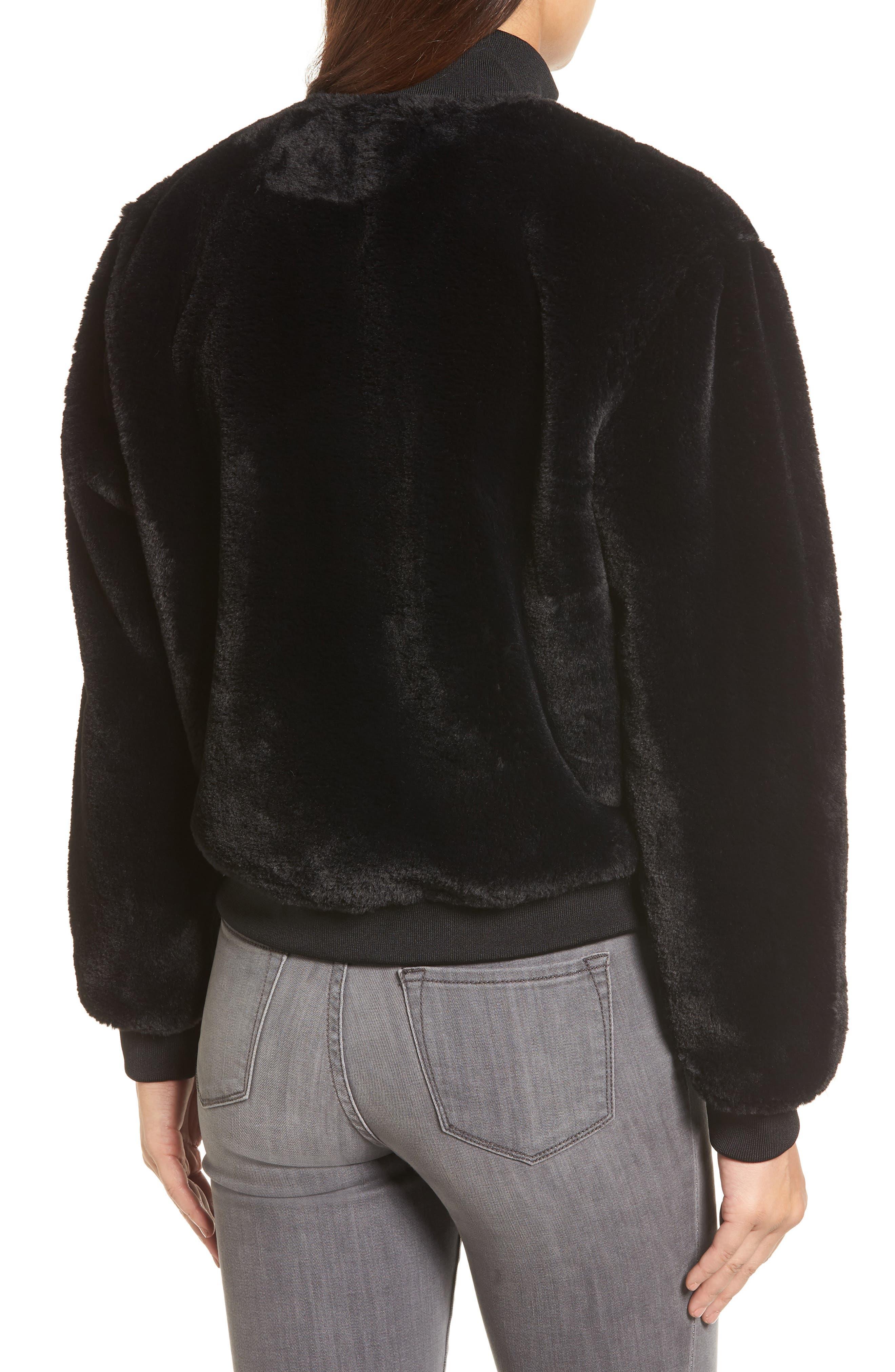 KENNETH COLE NEW YORK, Half-Zip Faux Fur Sweatshirt, Alternate thumbnail 2, color, BLACK